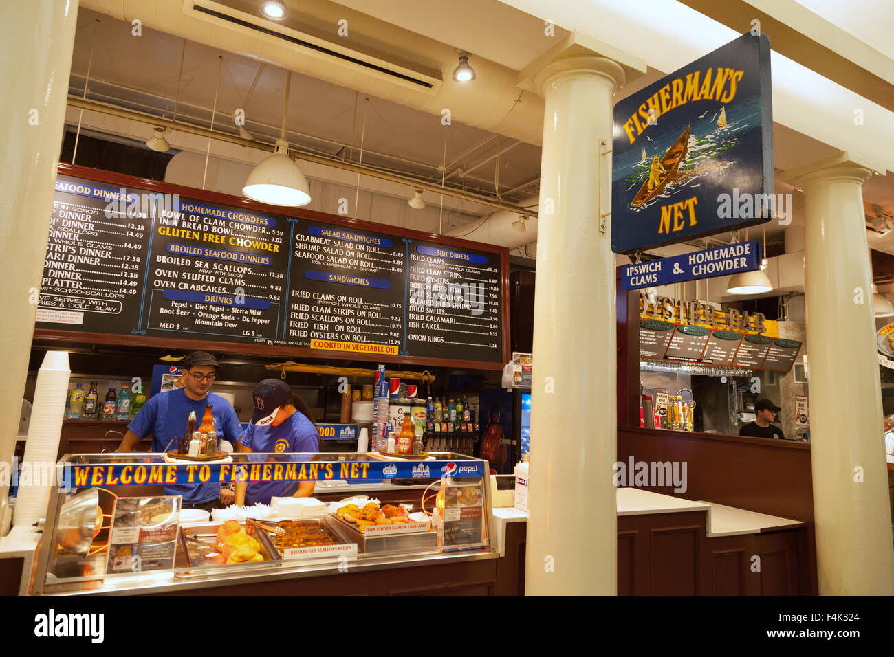 A seafood cafe in Quincy marketplace, Boston Massachusetts USA - Stock Image