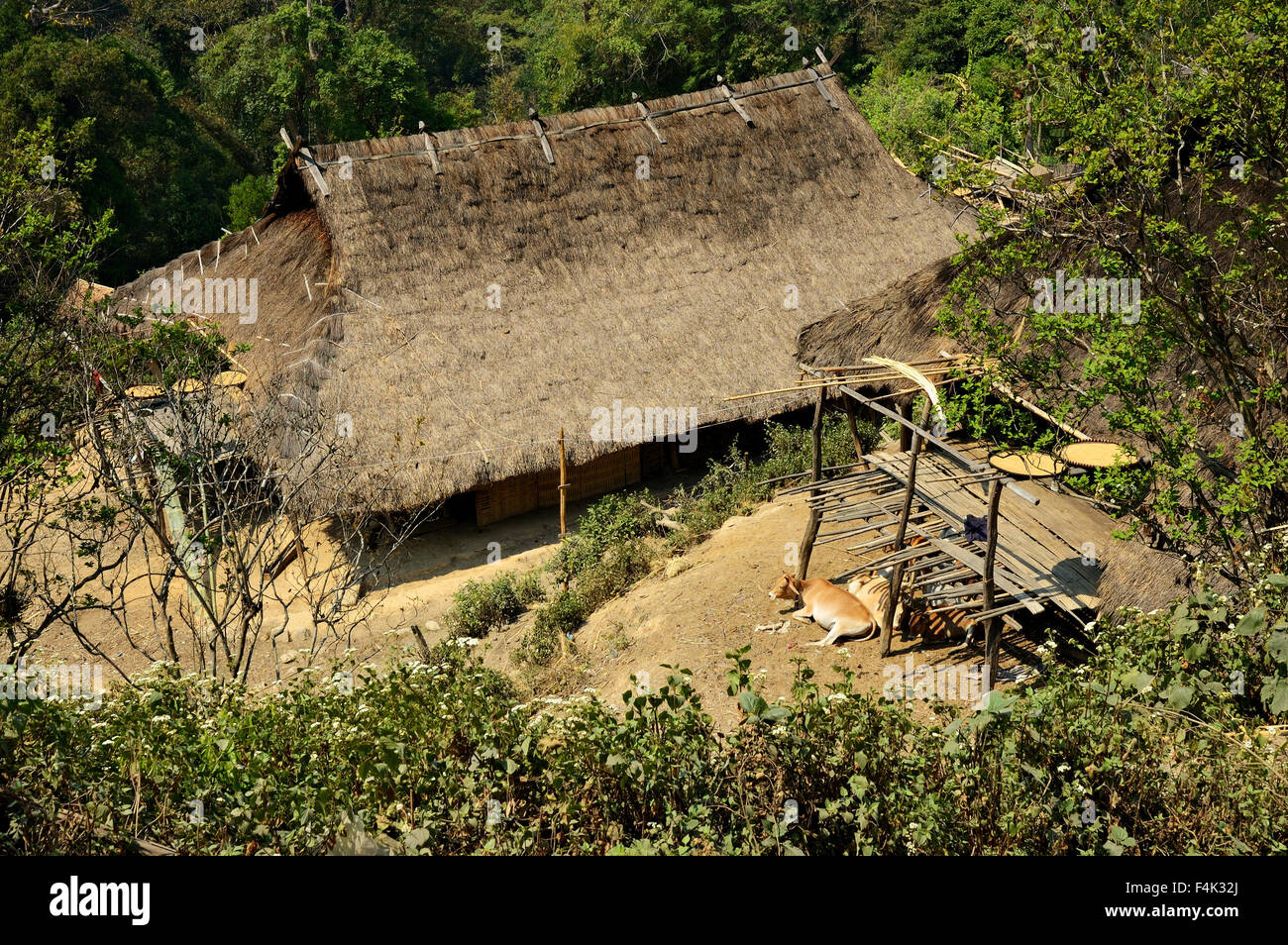 Long house of the Loi tribe in Wun Nyat village from above