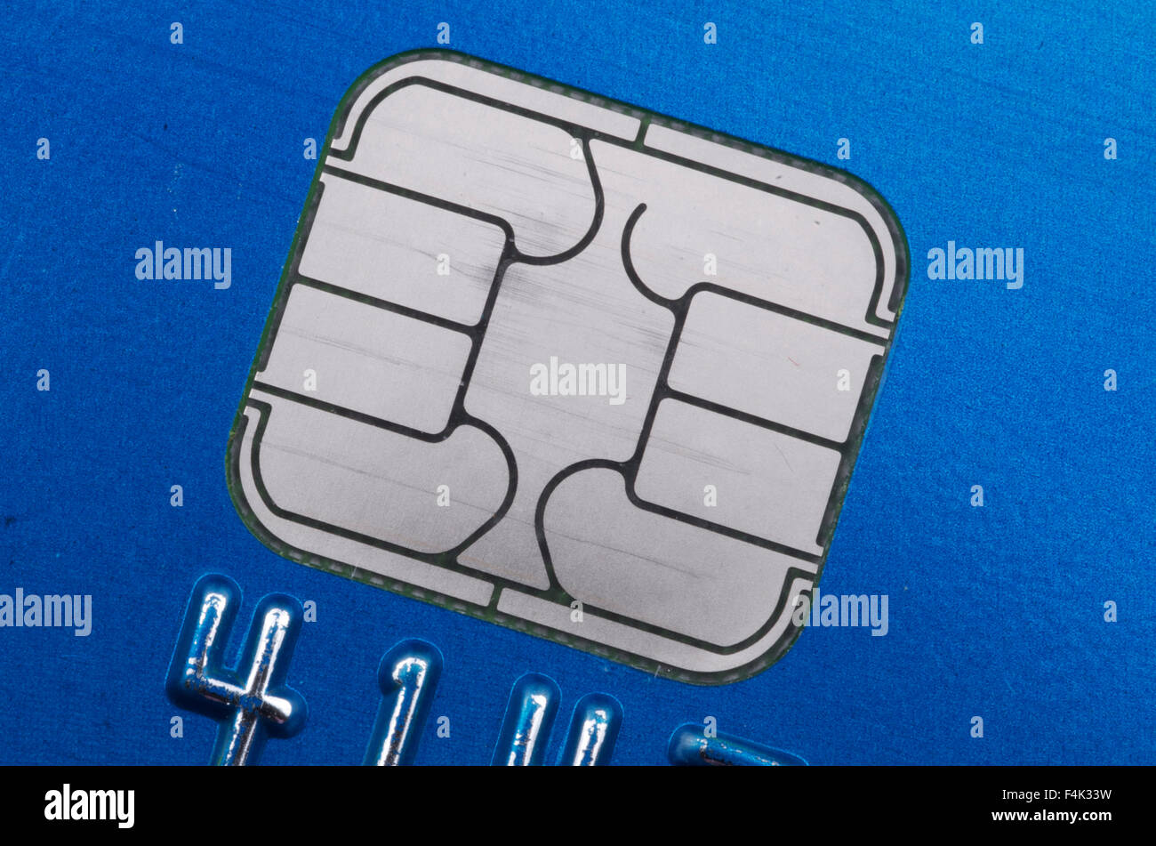 E M V Credit Card Computer Chip - Stock Image