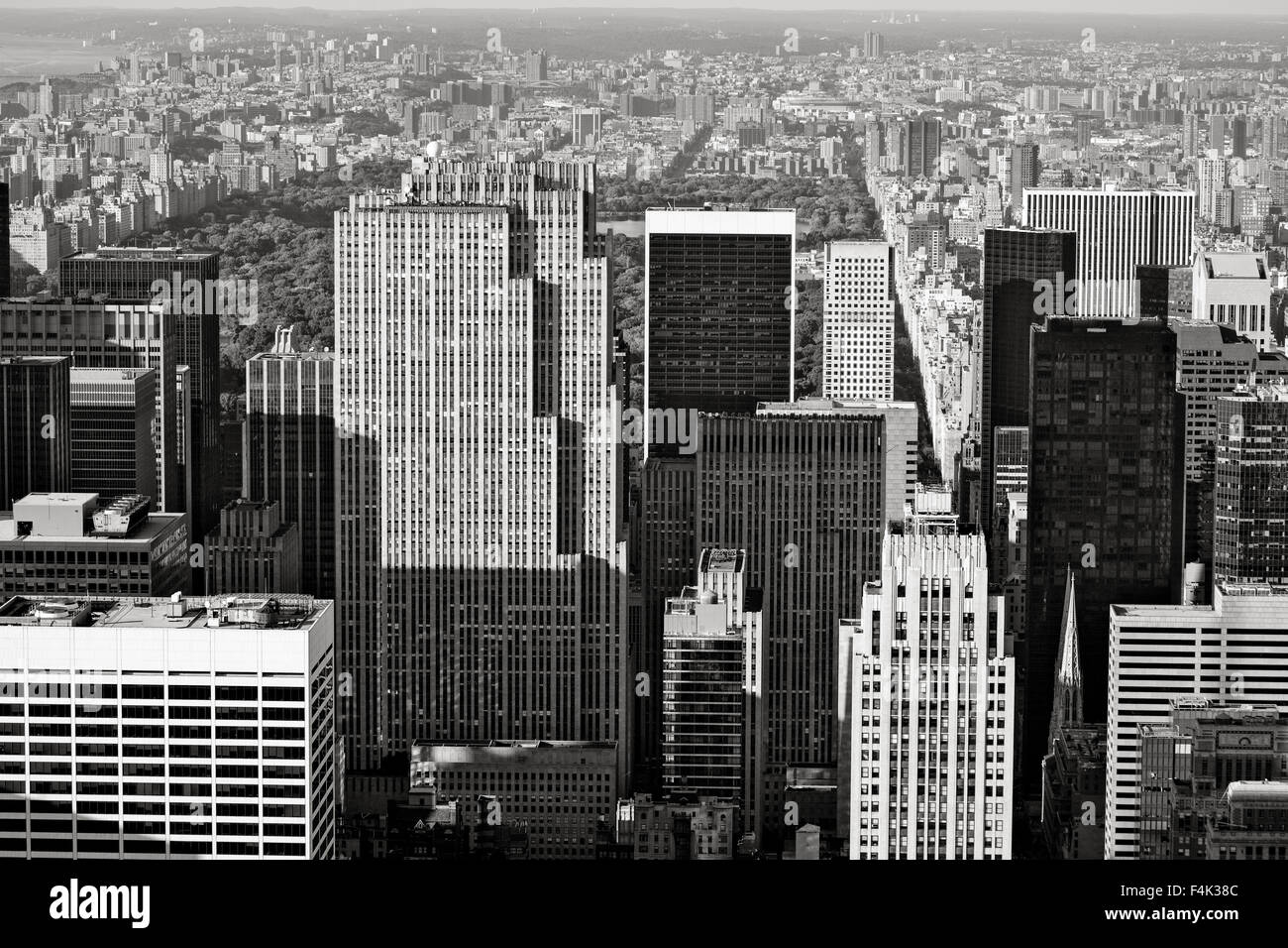 Midtown Manhattan with a view of Central Park and Upper Manhattan. Aerial view of Manhattan's skyscrapers, New - Stock Image
