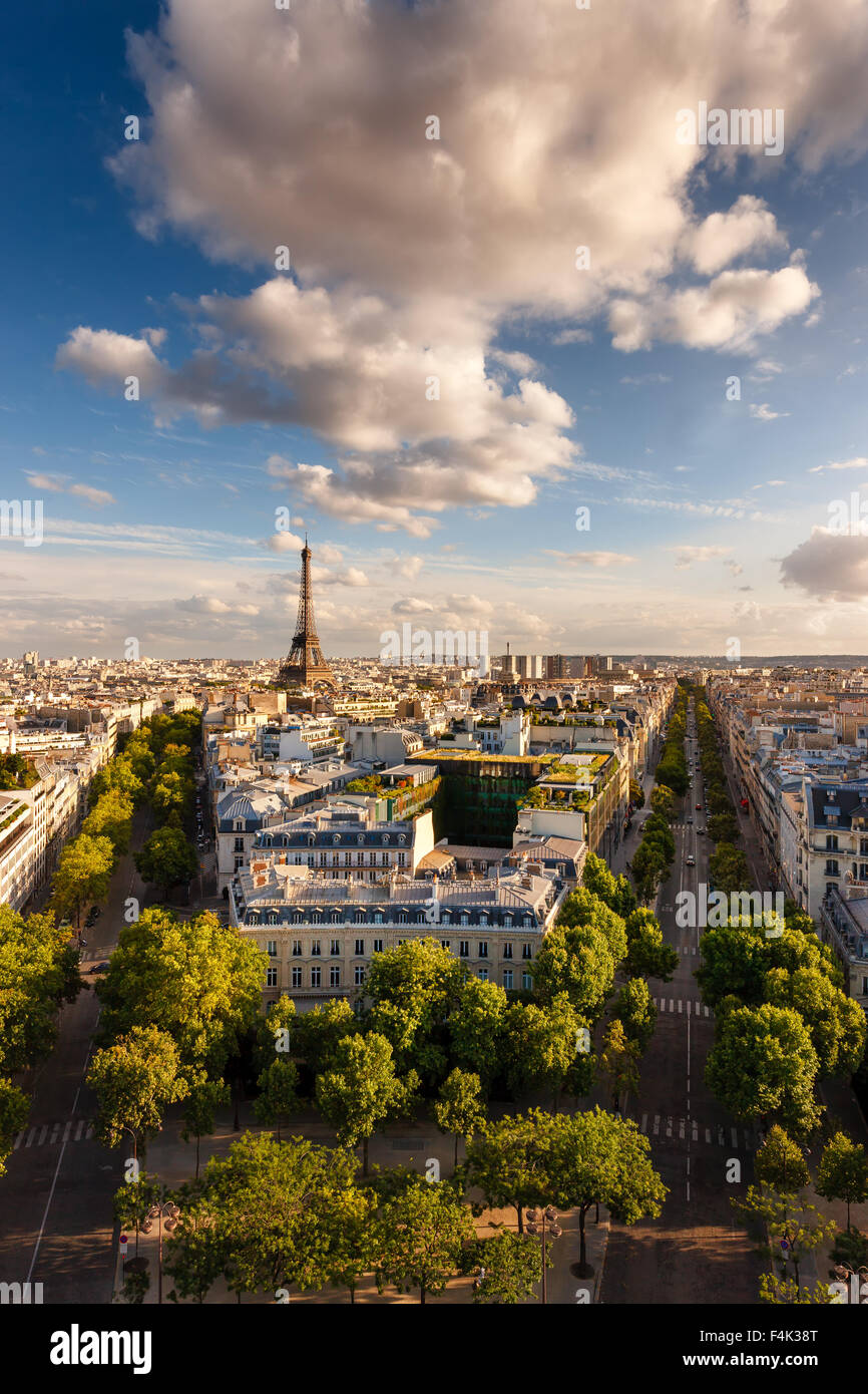 Paris from above: the famous Eiffel Tower and tree-lined Paris avenues (Iéna, Kleber) and their Haussmannian buildings. Stock Photo