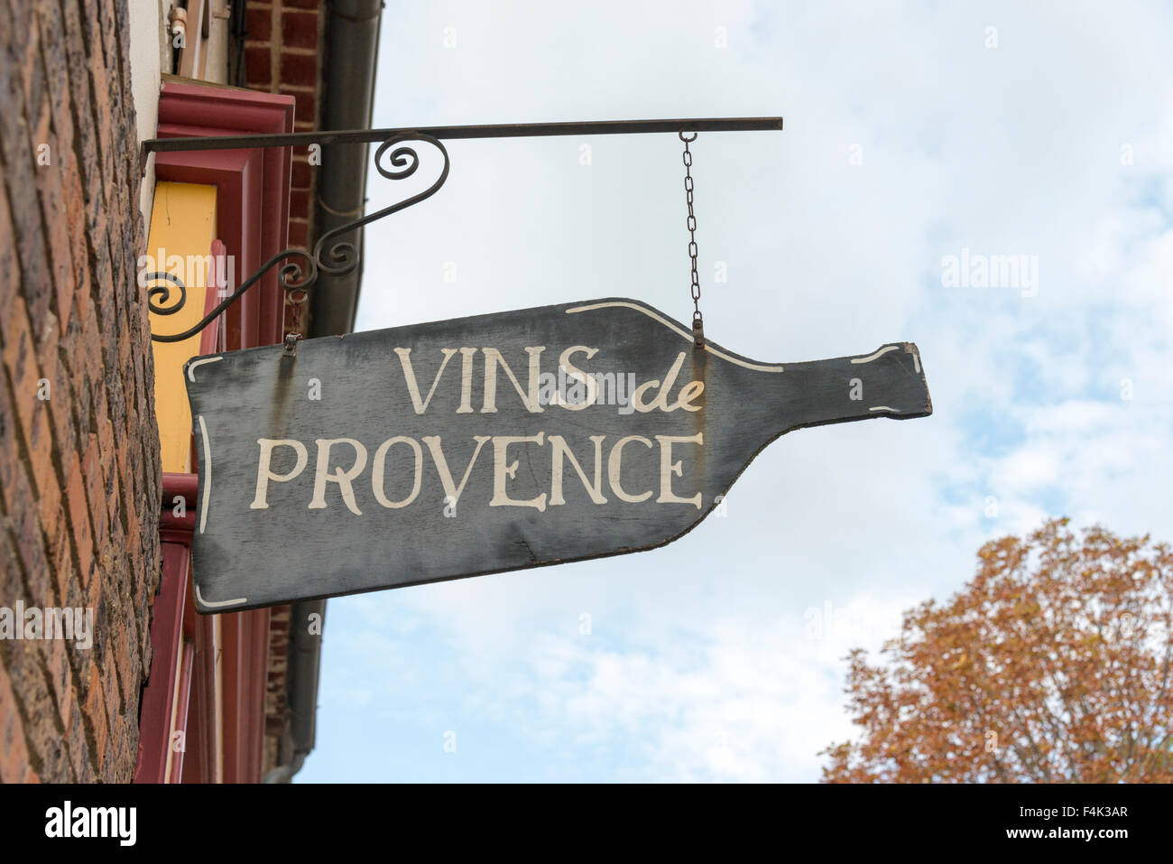 A Vin de Provence or wine of Provence sign outside a wine shop in Provence Frnace - Stock Image