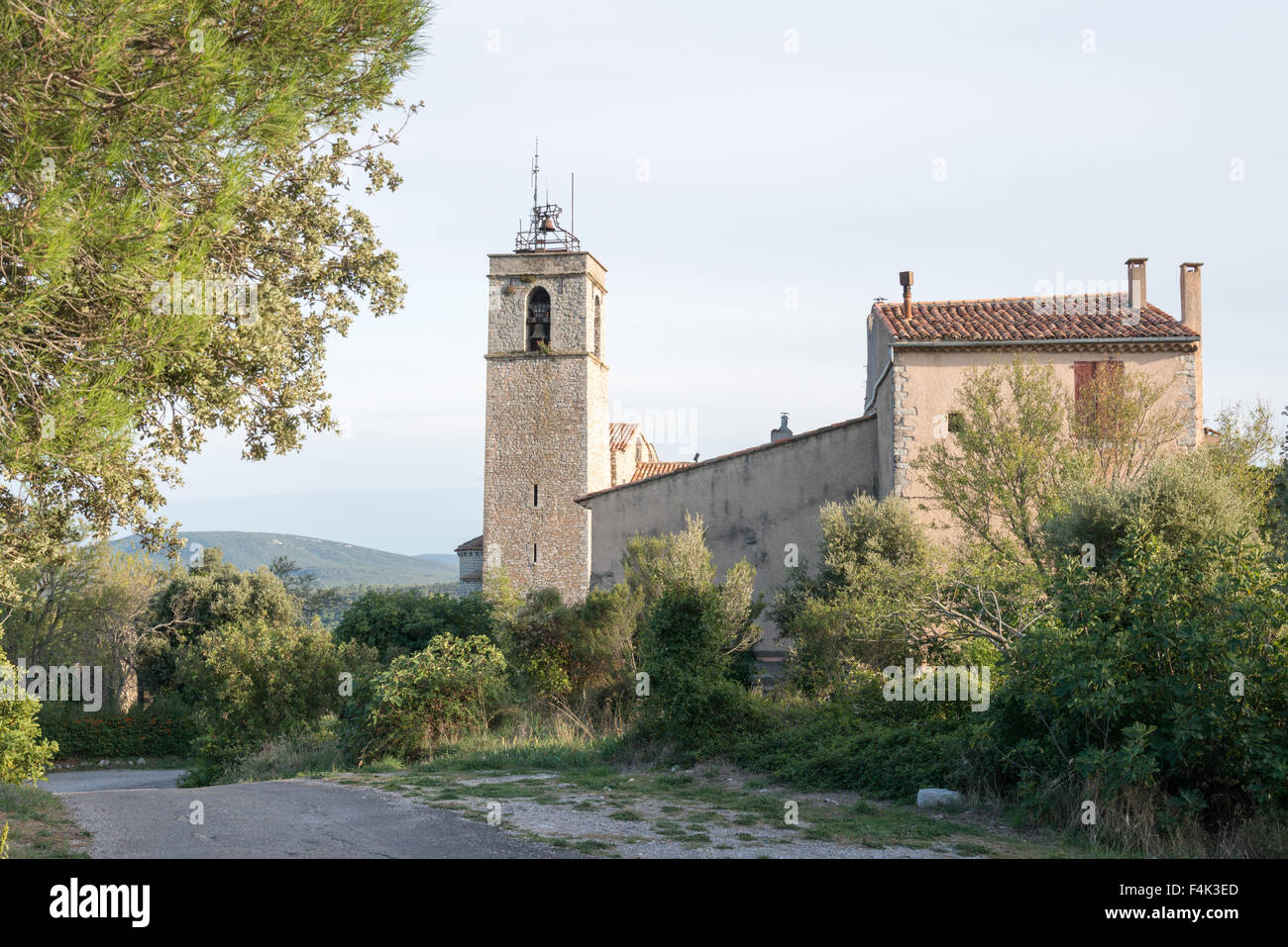 The Romanesque church St Trinity Chapell at the hilltop village of St Julien-La-Montagnier Provence France - Stock Image