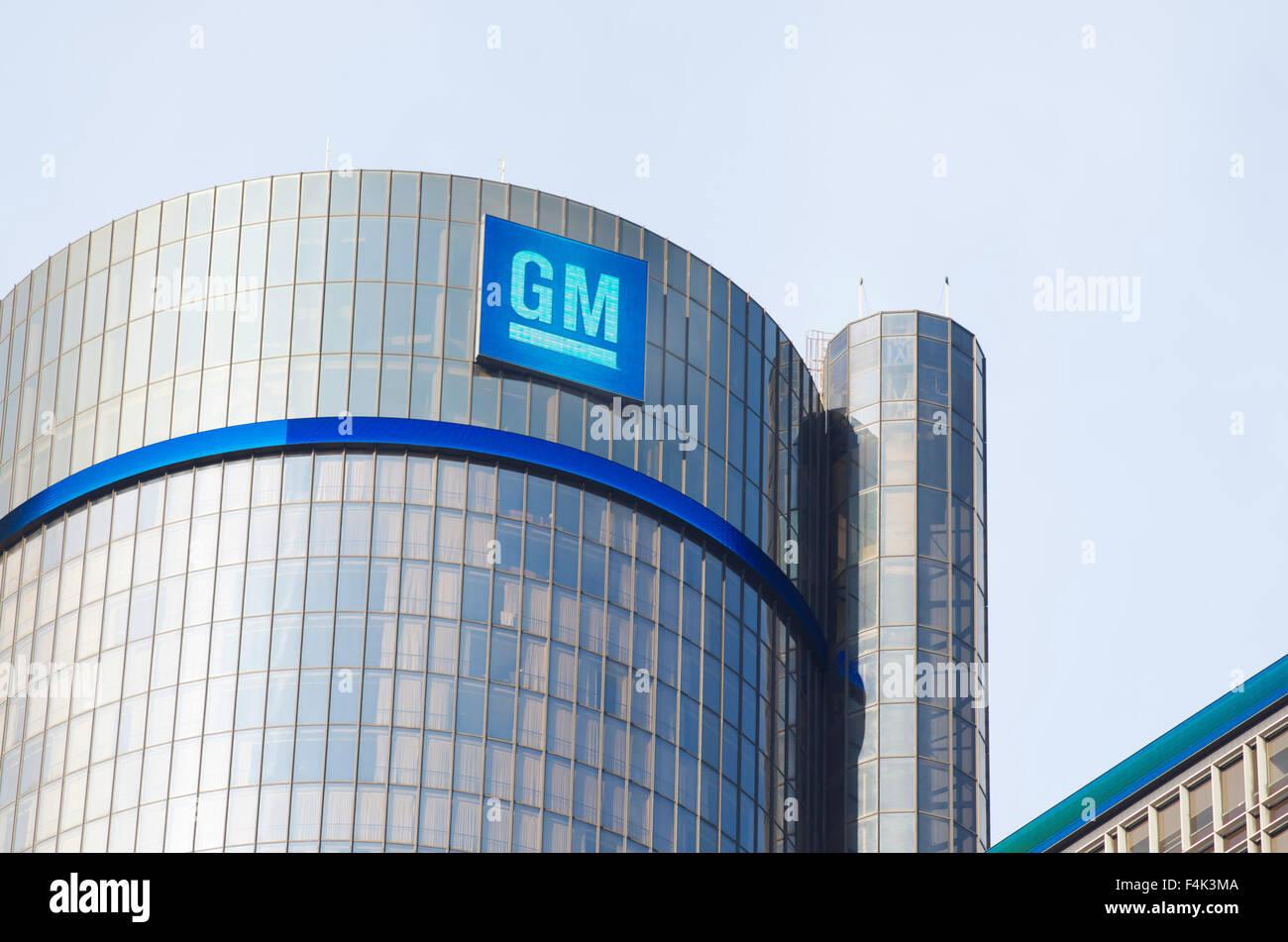 GM Headquarter Building in Detroit - Stock Image