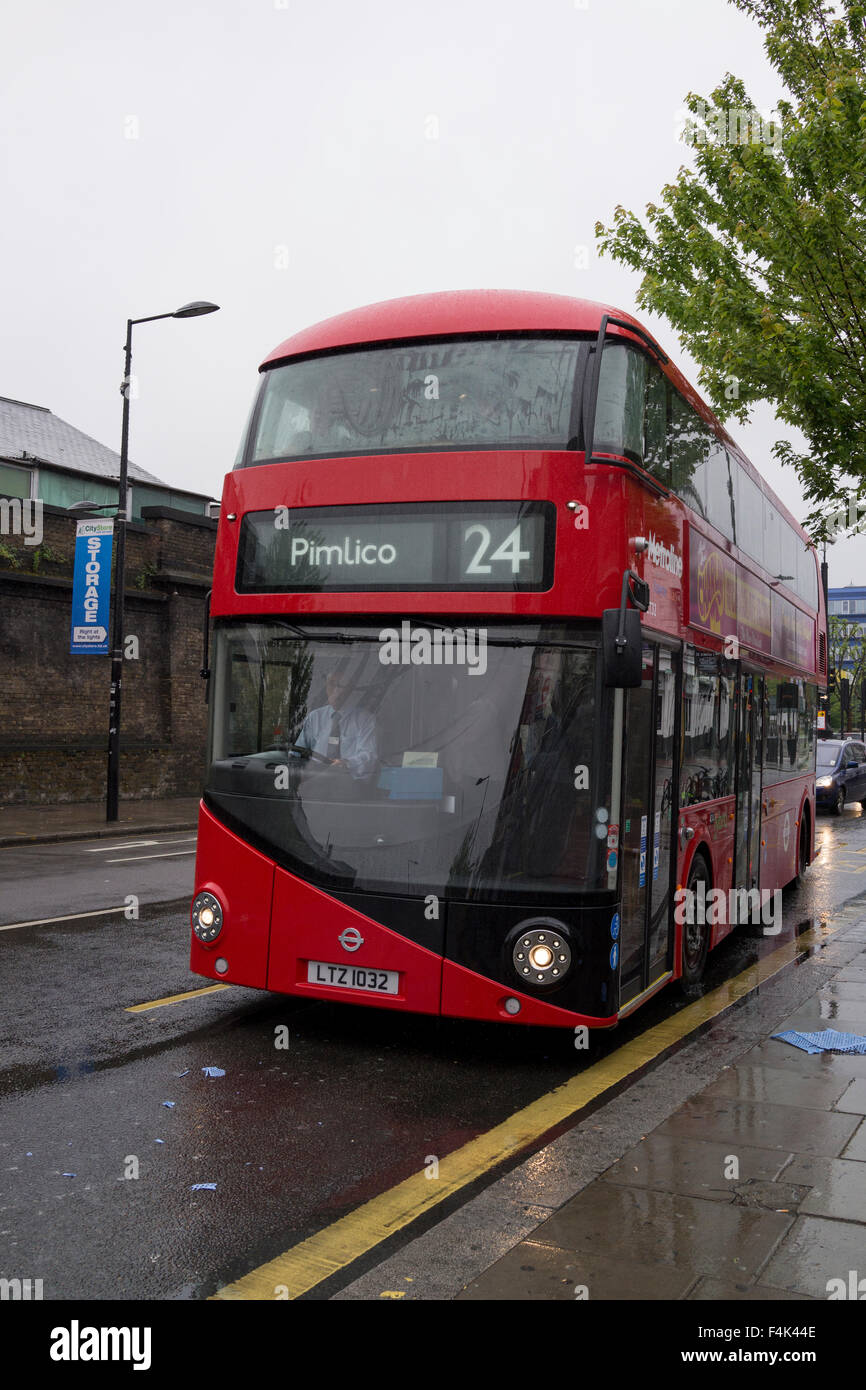 New London red Routemaster bus number 24 on its first commercial journey in London on June 22nd 2013 in Camden Town - Stock Image