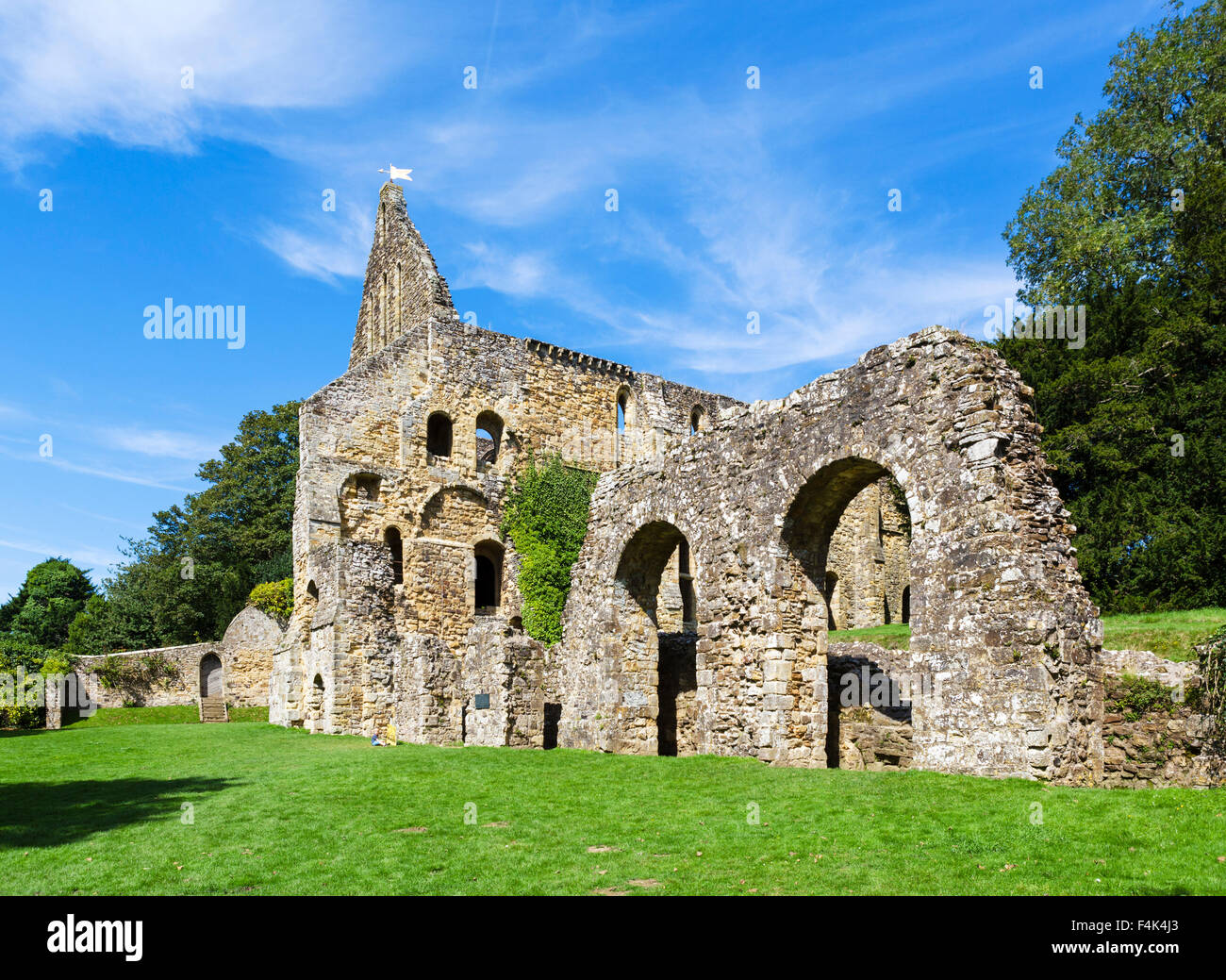 Rear of the ruins of the Dormitory Range at Battle Abbey, 1066 Battle of Hastings Abbey and Battlefield, East Sussex - Stock Image