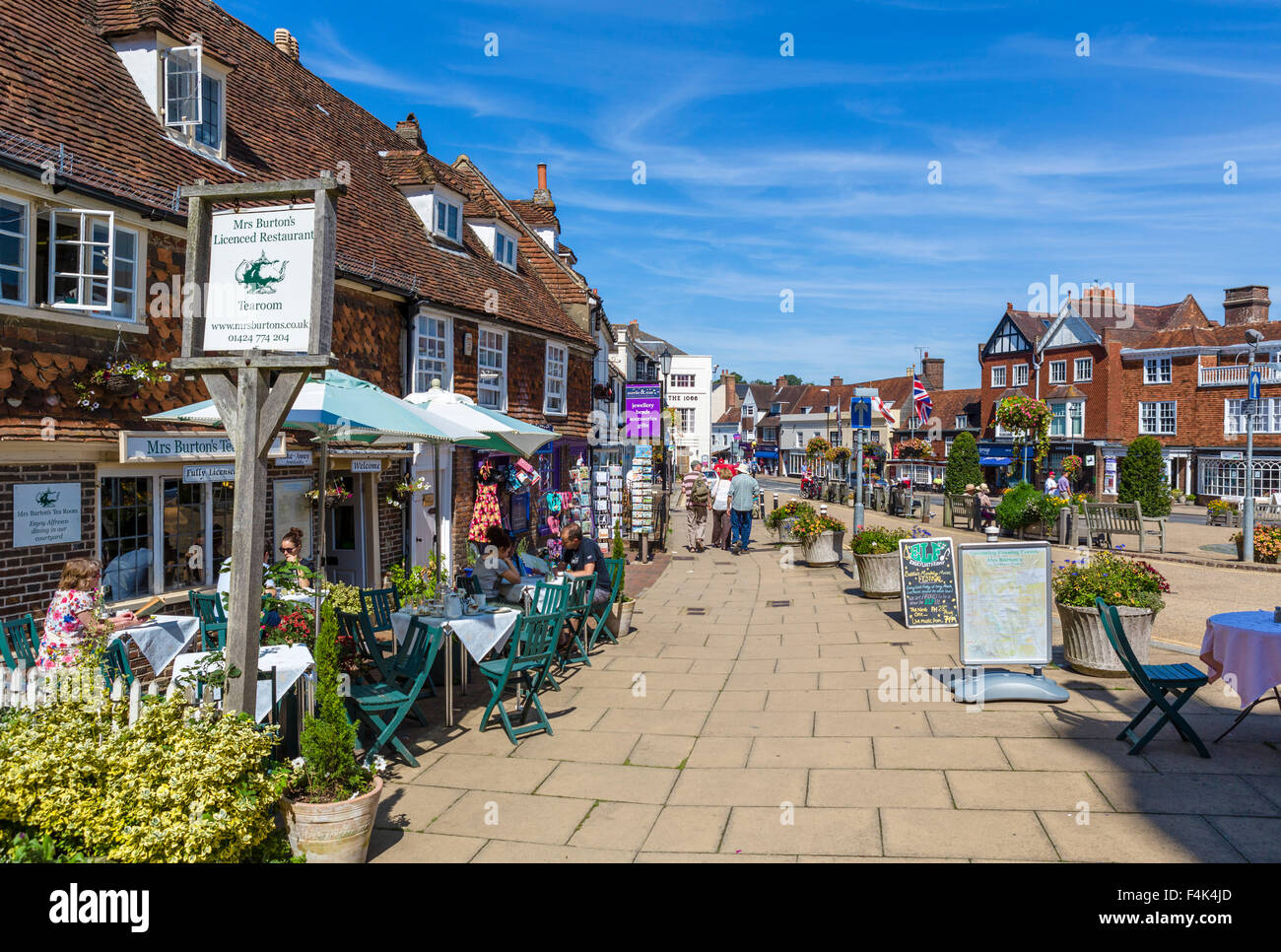Mrs Burton's Restaurant and Tearoom on the High Street in Battle, site of the Battle of Hastings, East Sussex England, Stock Photo