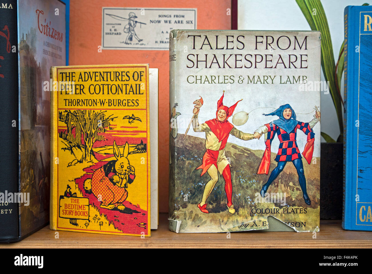 Vintage children's books in the window of a secondhand bookshop in Edinburgh. - Stock Image