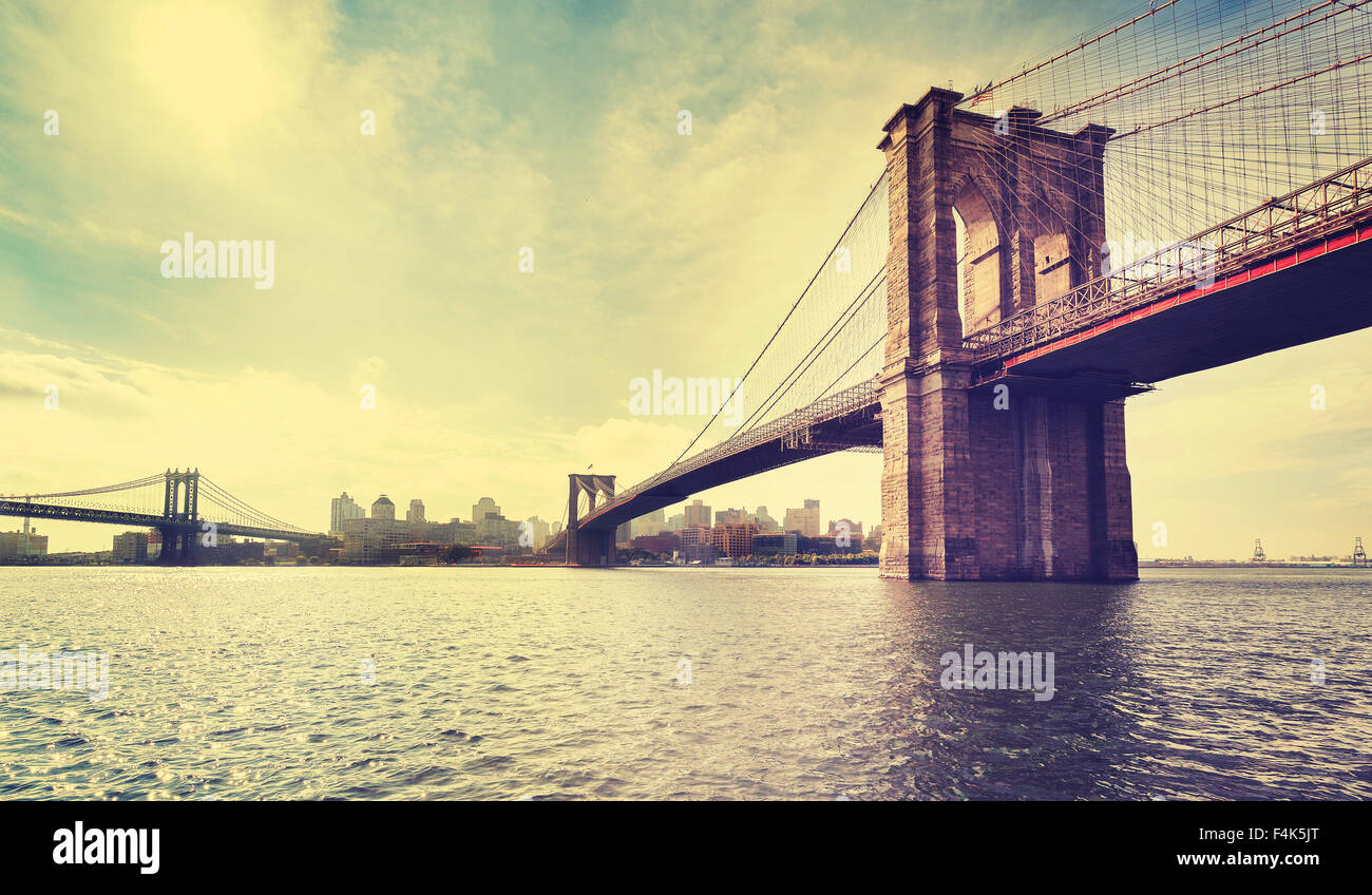 Vintage filtered picture of Brooklyn Bridge in New York City, USA. - Stock Image