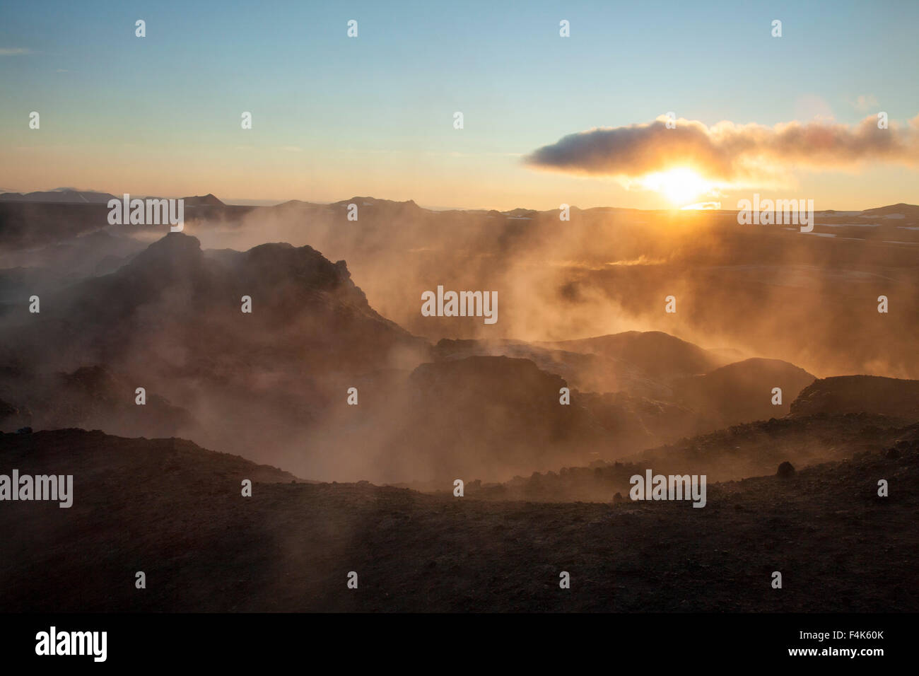 Sunrise over the smouldering lava field at Leirhnjukur, Krafla volcano, Myvatn, Nordhurland Eystra, Iceland. - Stock Image