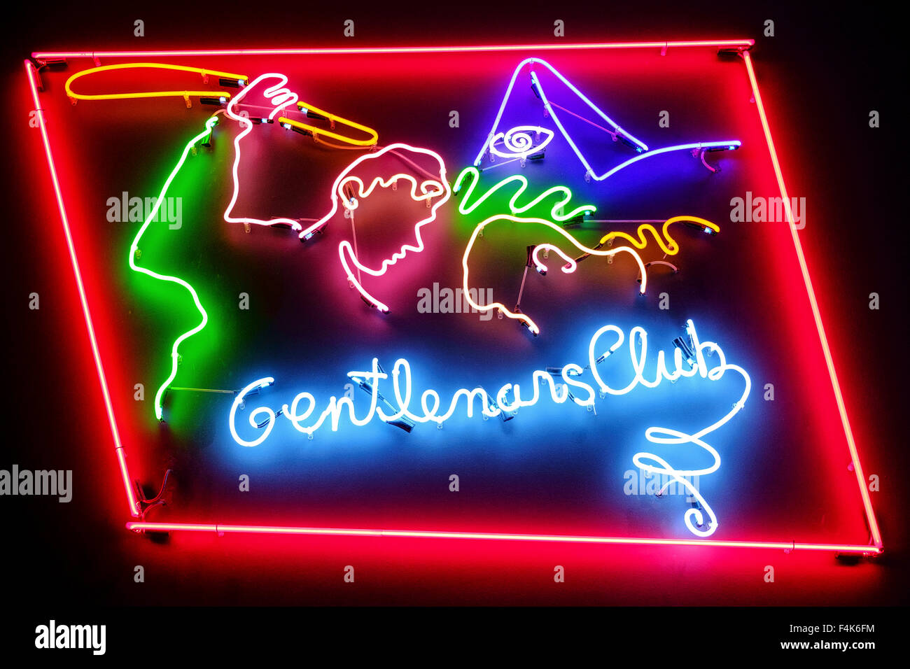 gentlemans club neon sign advertisement gentlemens - Stock Image