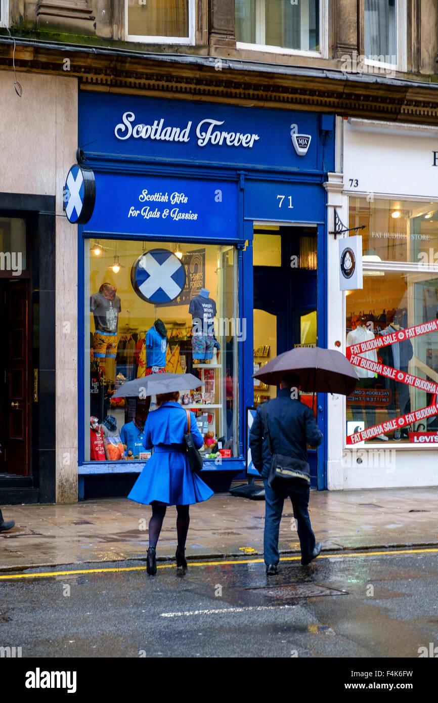 scottish shop scotland forever blue white saltire - Stock Image