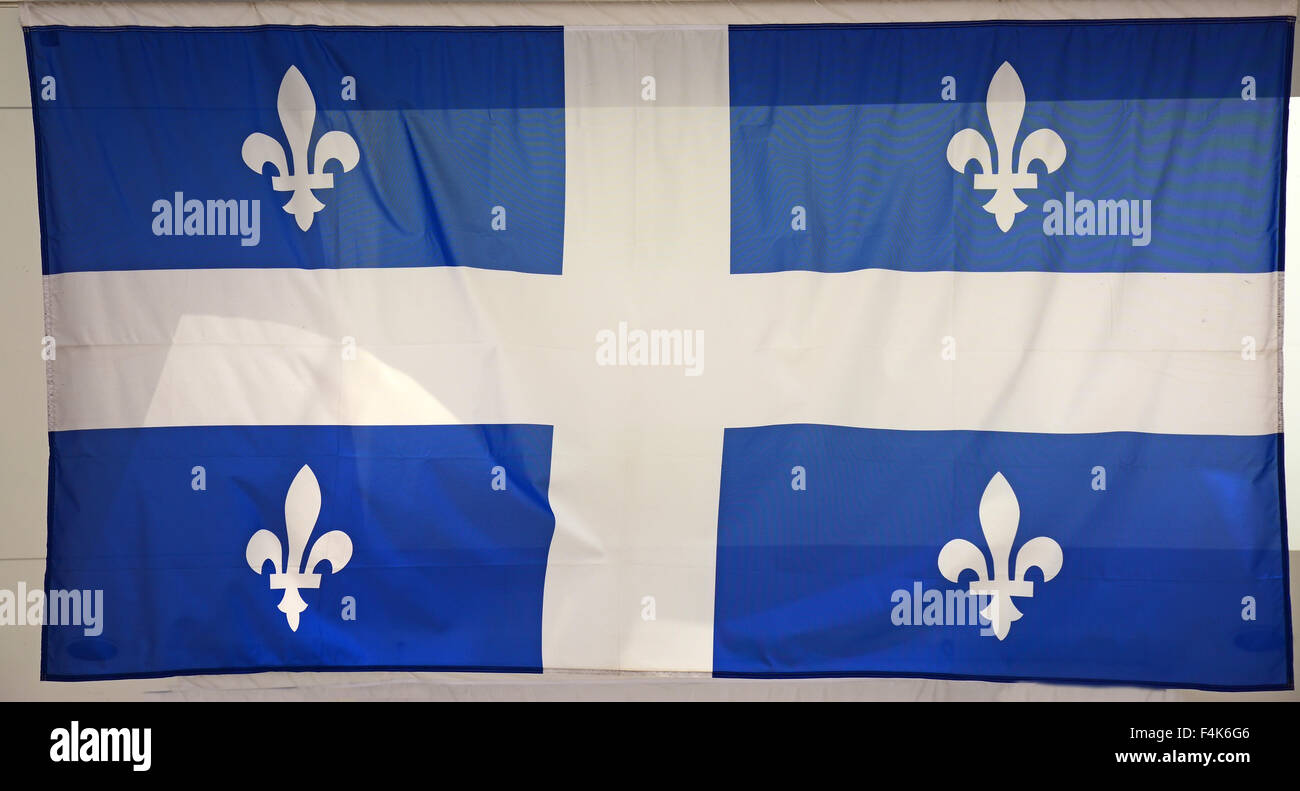 Flag  of Quebec, The Fleurdelise, Canada - Stock Image
