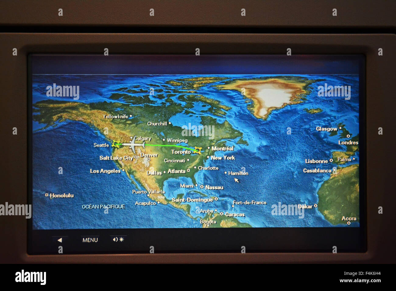 Flight route map on airplane, Global - Stock Image