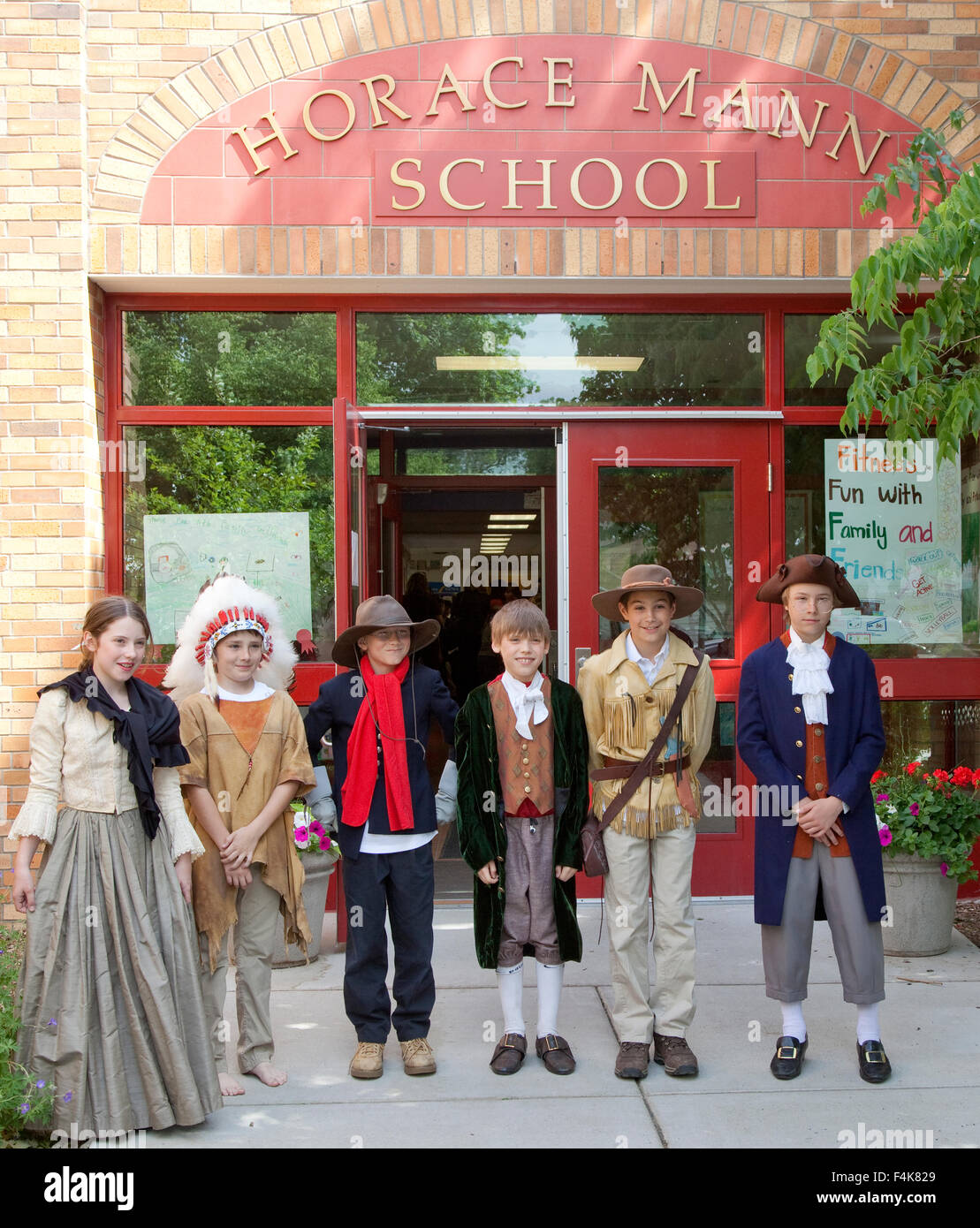 Actors in costume representing early historical Americans by students age 12 at Horace Mann School.  St Paul Minnesota - Stock Image
