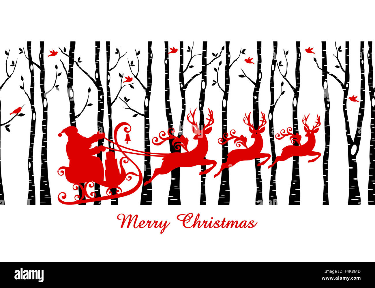 Santa with his sleigh in birch tree forest, Christmas card, vector seamless pattern - Stock Image