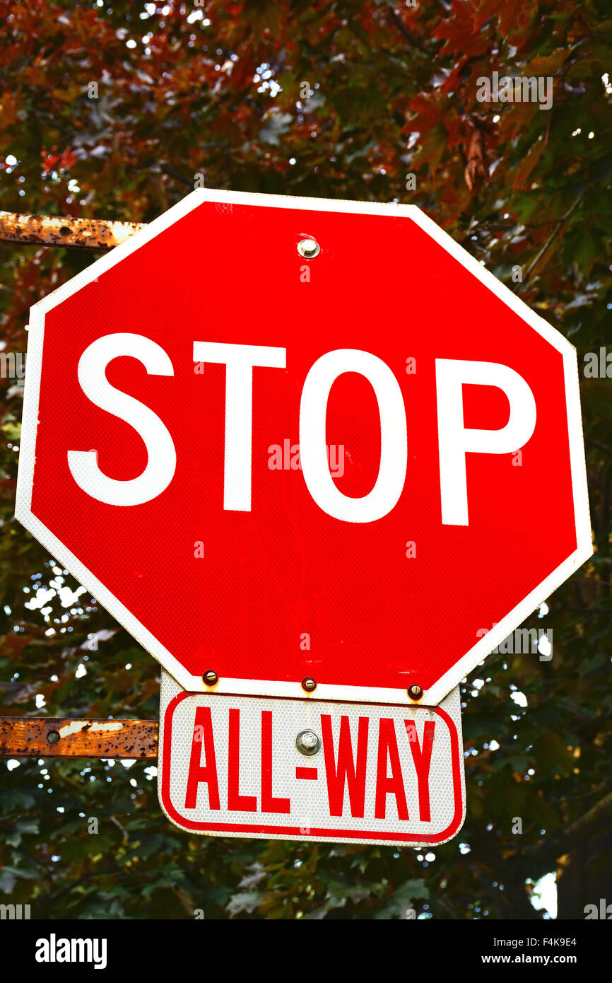 Stop all-way traffic sign - Stock Image