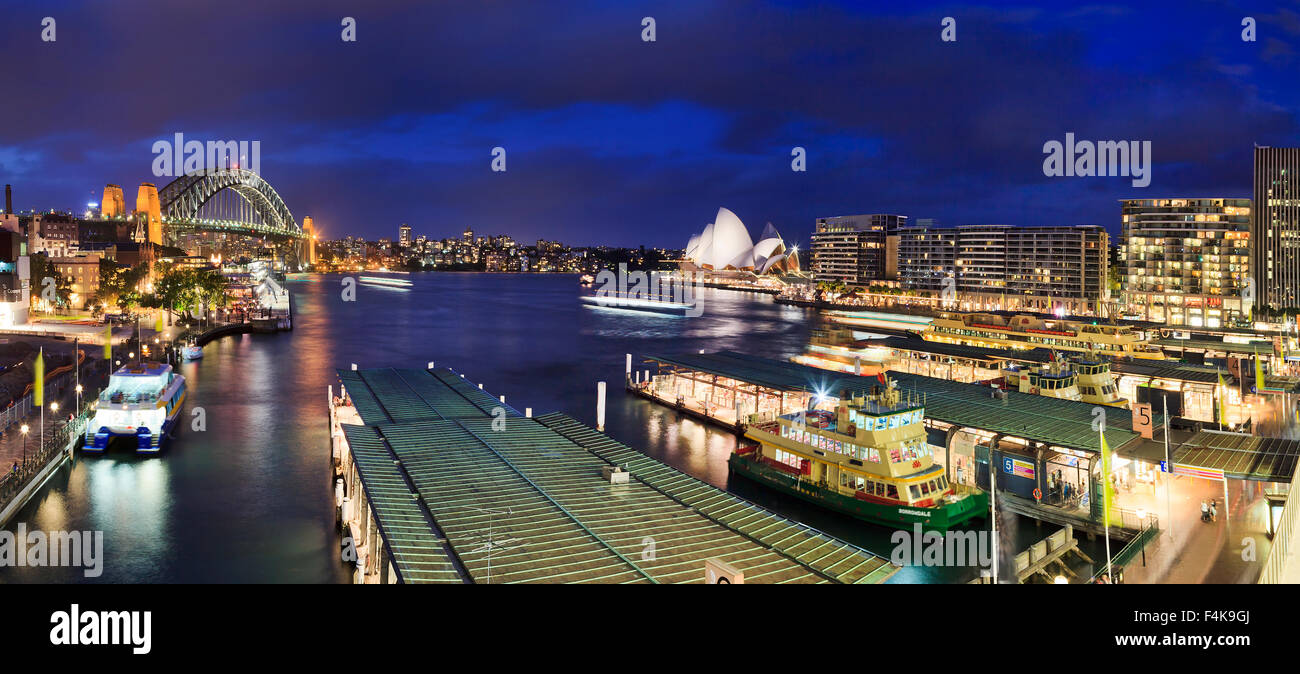 Sydney, NSW, AUstralia - April 7, 2012: City's iconic place with famous Opera House, Harbour Bridge and Circular - Stock Image