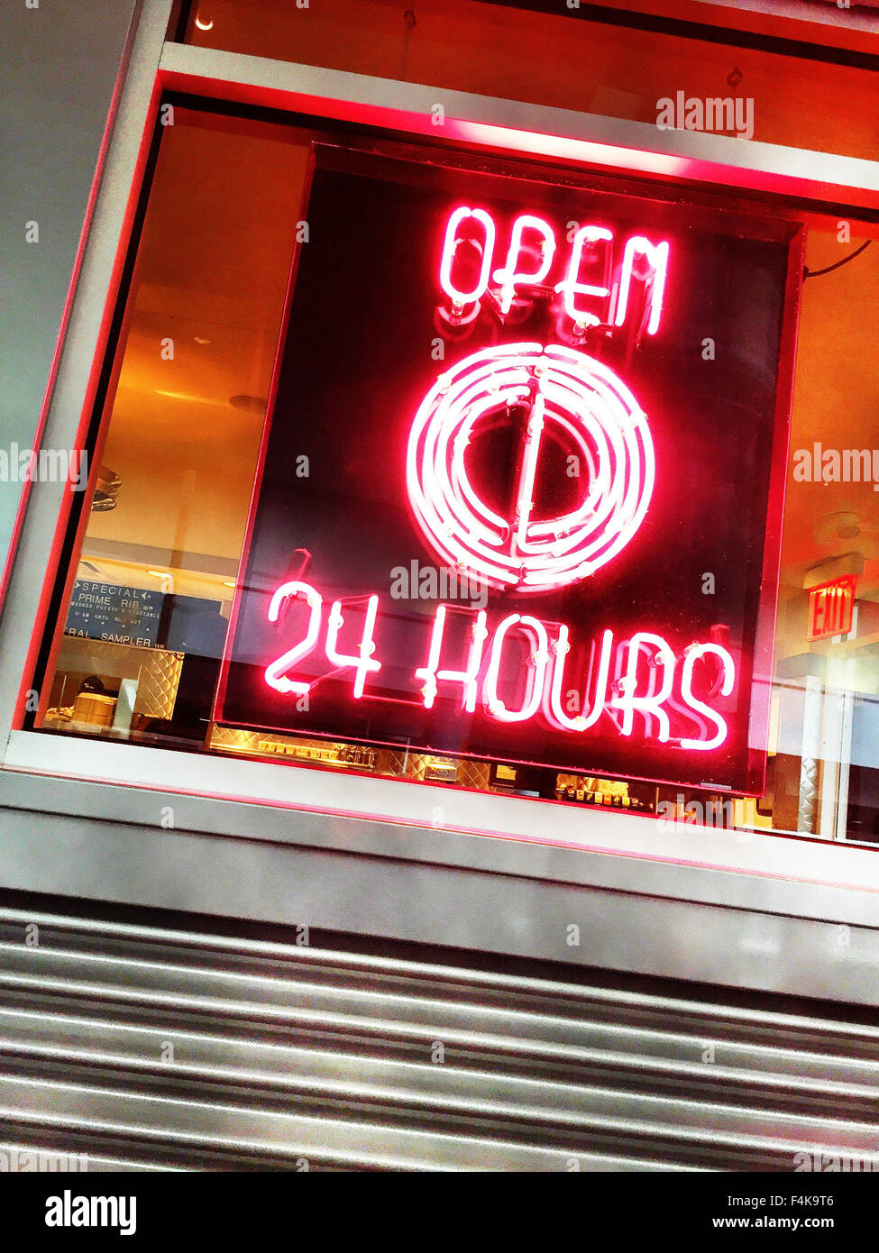 Open All Hours Sign At The City Diner At Jfk Airport New York Usa