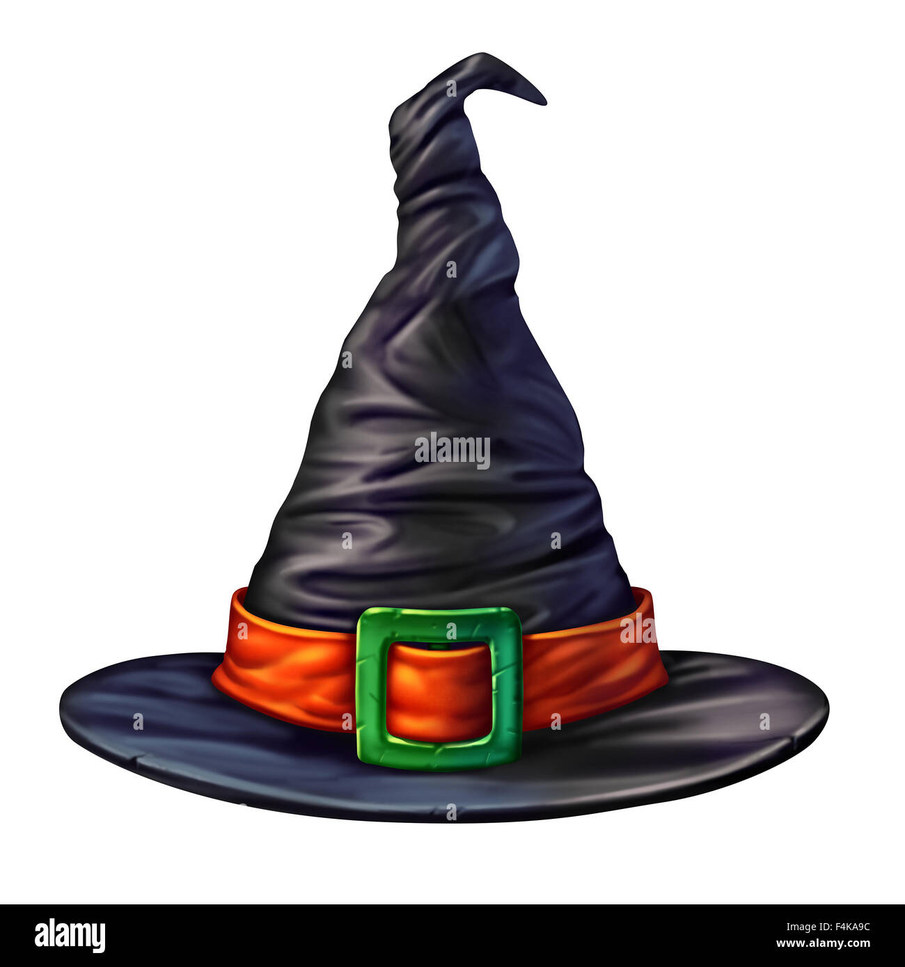 Witch hat isolated on a white background as a spooky mystical dimensional black head garment for a sorcerer or sorceress - Stock Image