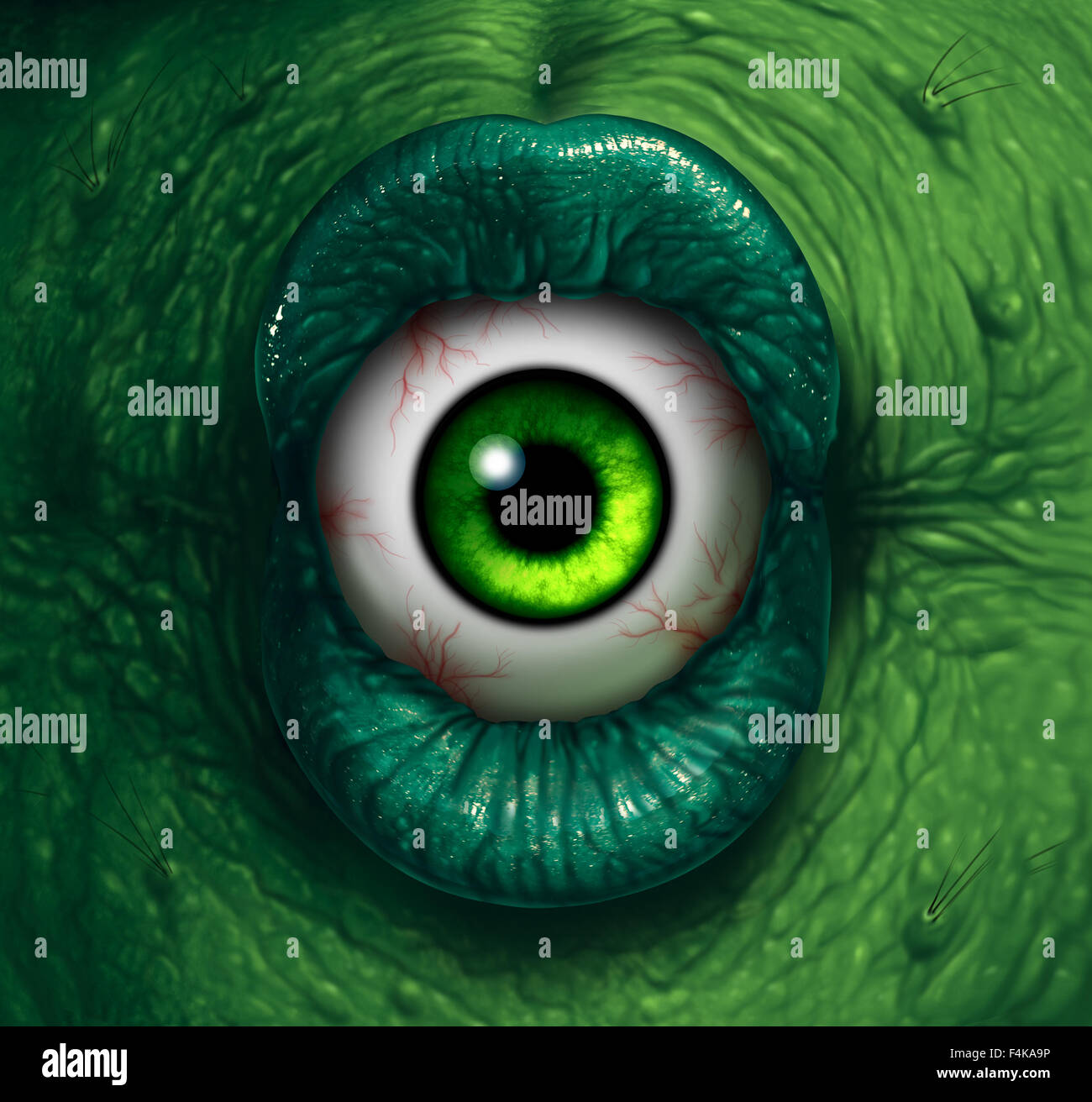 Monster eye halloween ogre demon closeup with evil green lips biting into a disgusting eyeball as a nightmare zombie - Stock Image