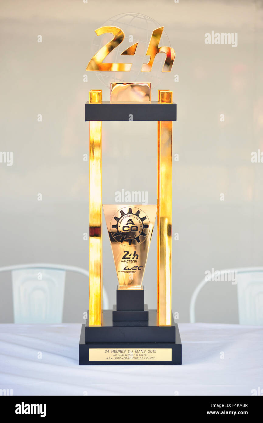 The Le Mans 24 hours race winner's trophy on display at the Goodwood Festival of Speed in the UK. - Stock Image