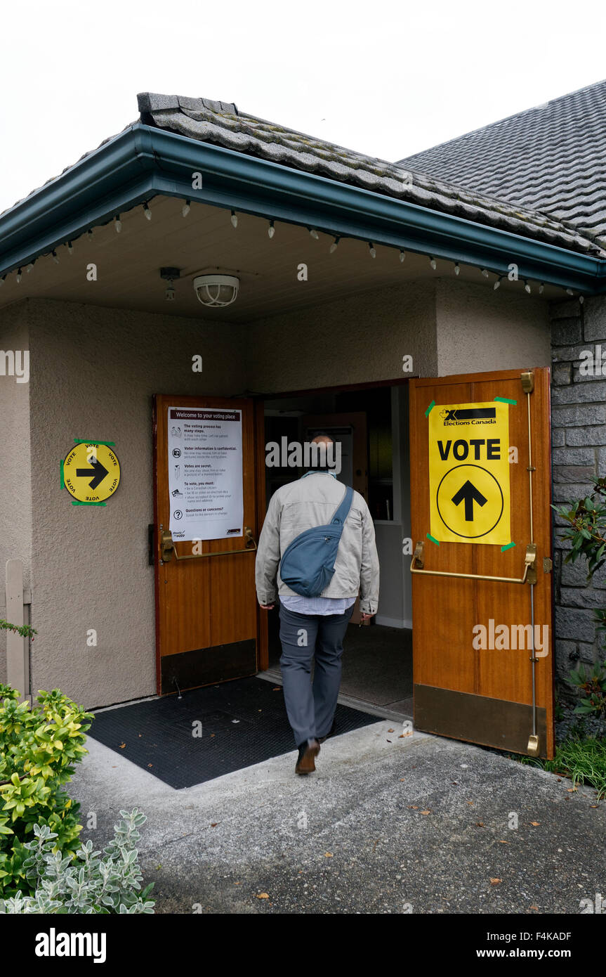A male voter entering the Vancouver Granville riding polling station in Vancouver, British Columbia, Canada during - Stock Image