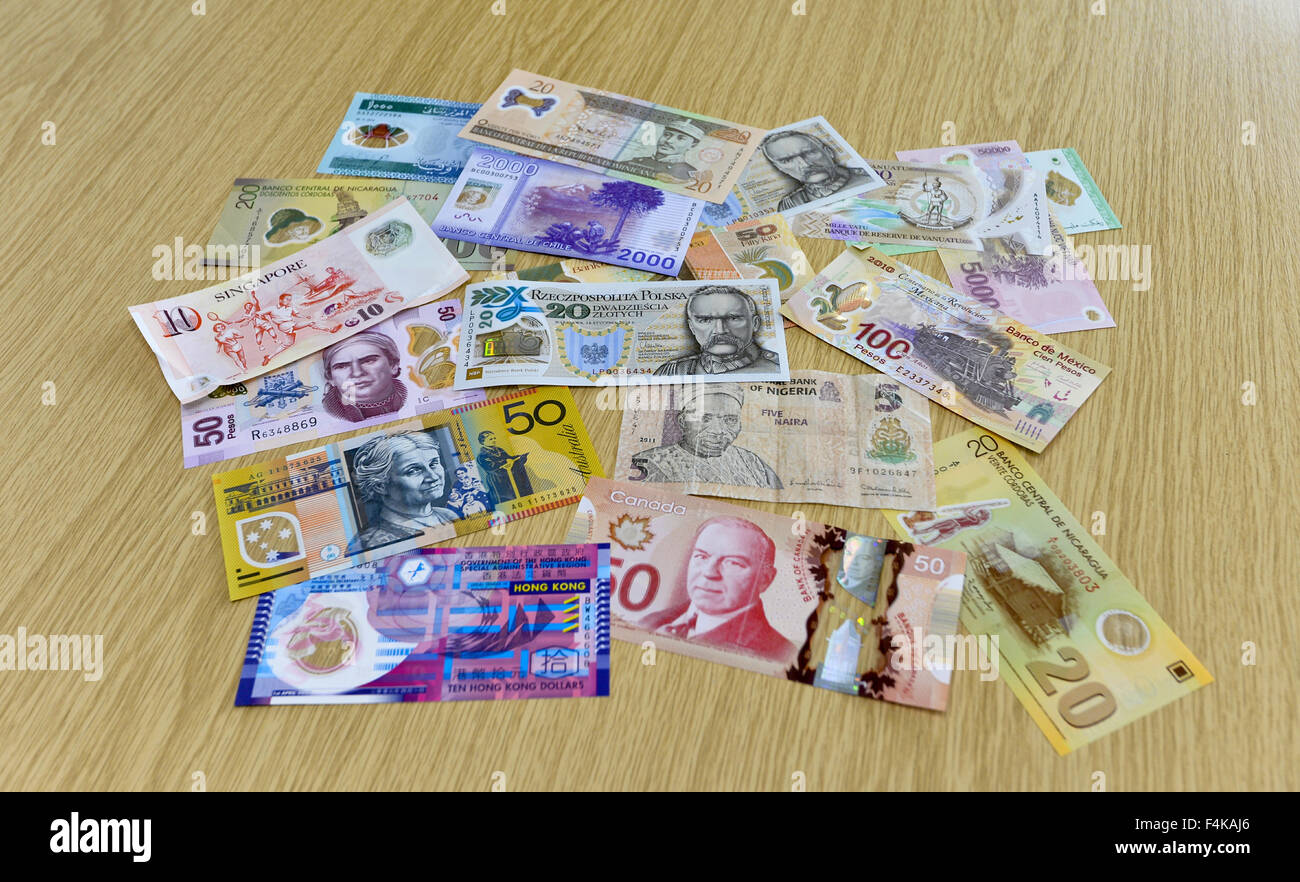 Polymer plastic bank notes produced by Innovia Securities. part of Innovia Films who have their Headquarters in Stock Photo