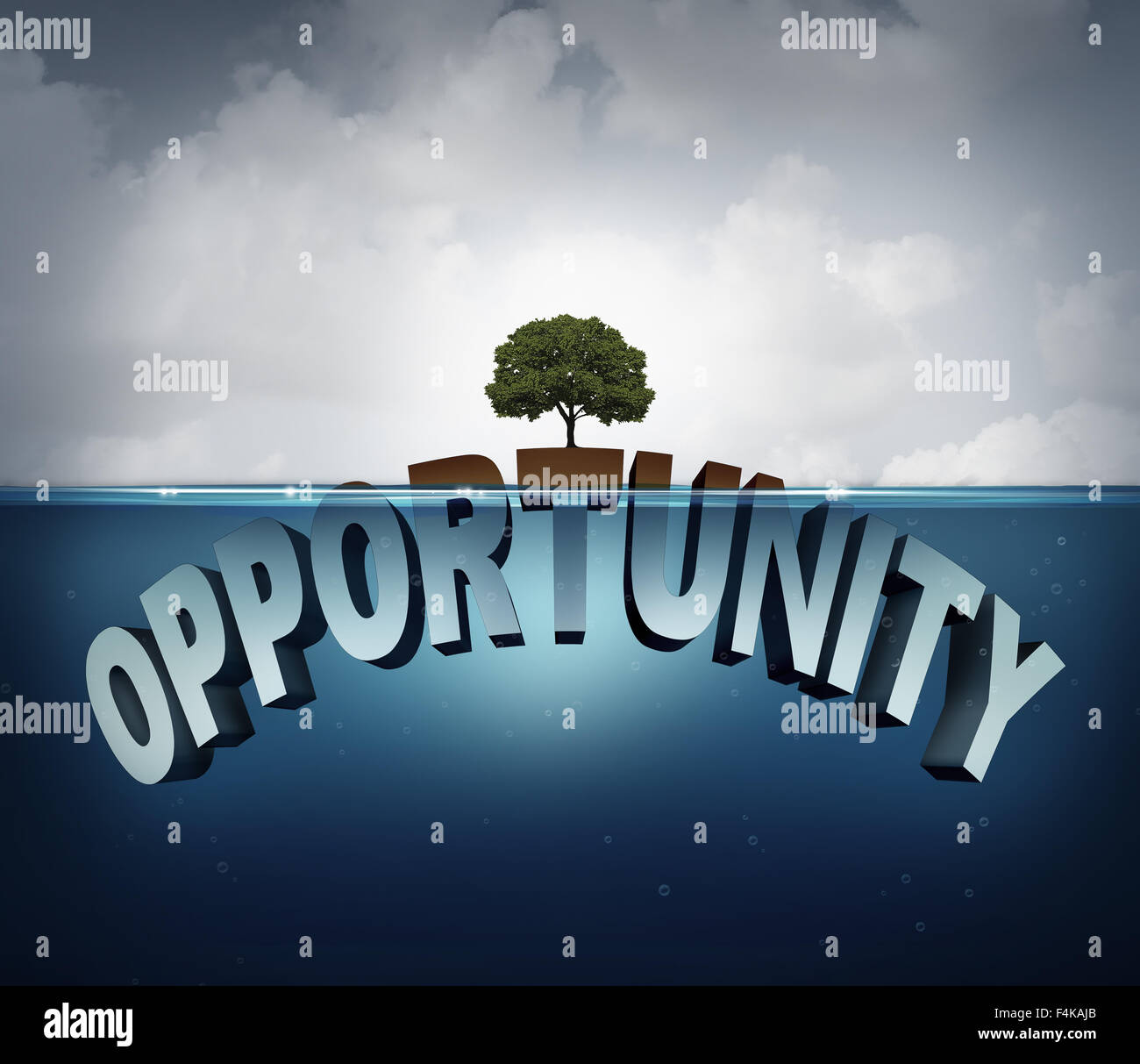 Unknown opportunity concept as three dimensional text hidden underwater with a viral healthy tree growing on a small - Stock Image