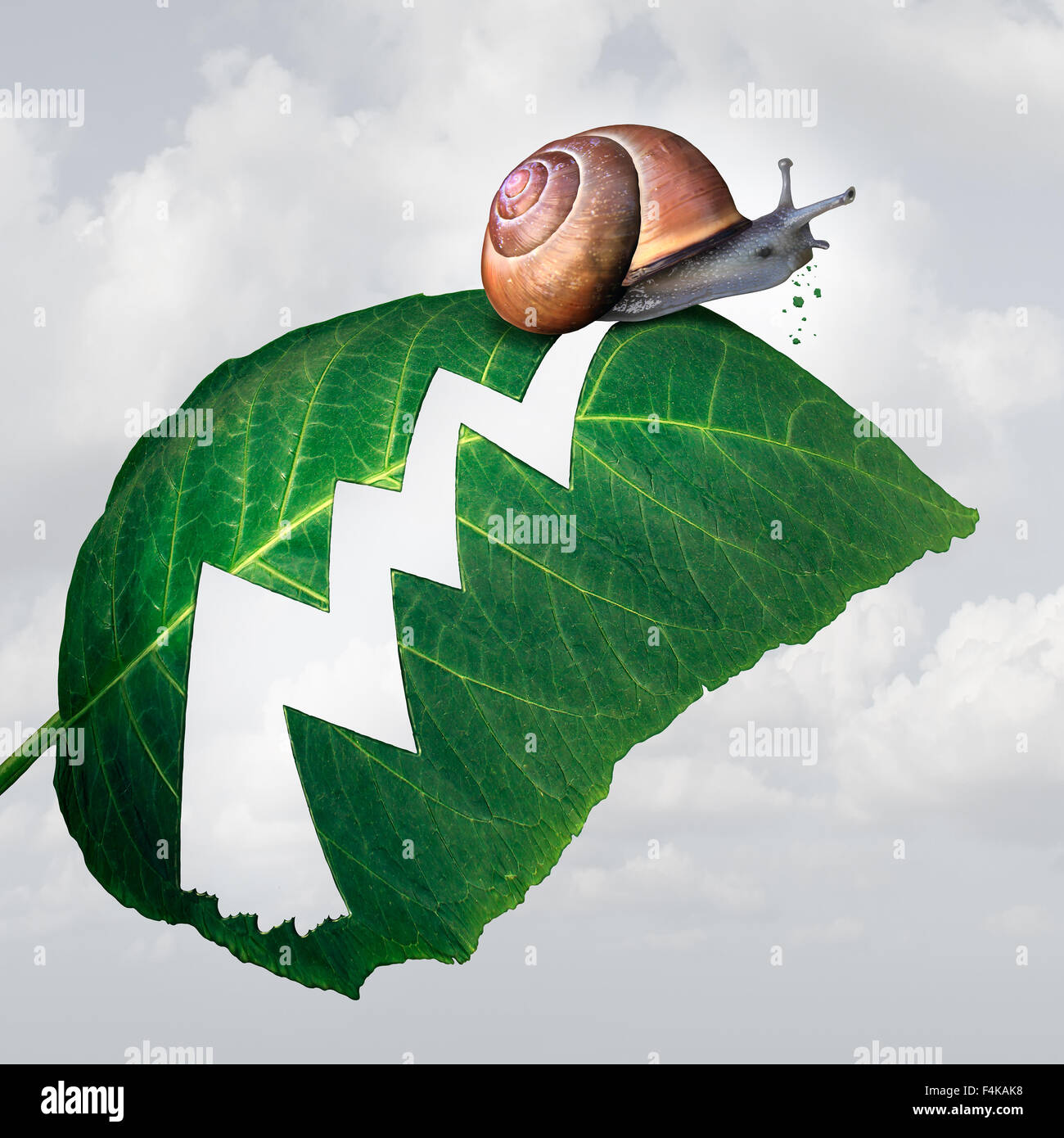 Slow profit growth business concept as a snail creating a hole shaped as a financial arrow chart in a leaf by eating - Stock Image