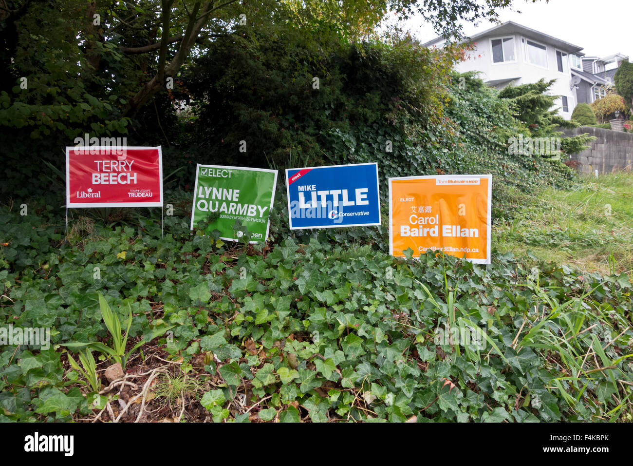 BURNABY, BC, CANADA (Greater Vancouver)- October 19, 2015.  On the day of Canada's federal election, campaign - Stock Image