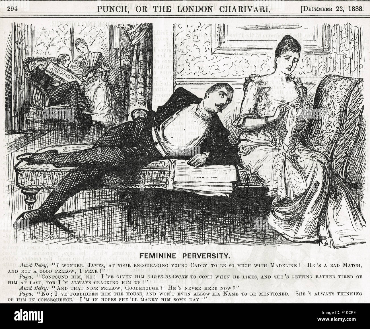 Reverse Psychology Punch Cartoon 1888 - Stock Image
