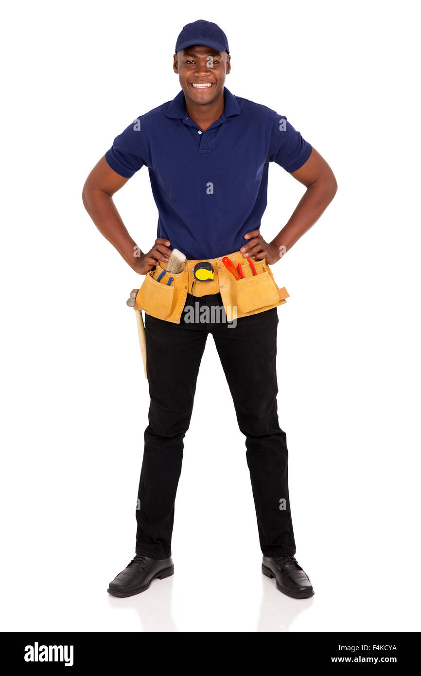 portrait of professional African craftsman with tool-belt - Stock Image