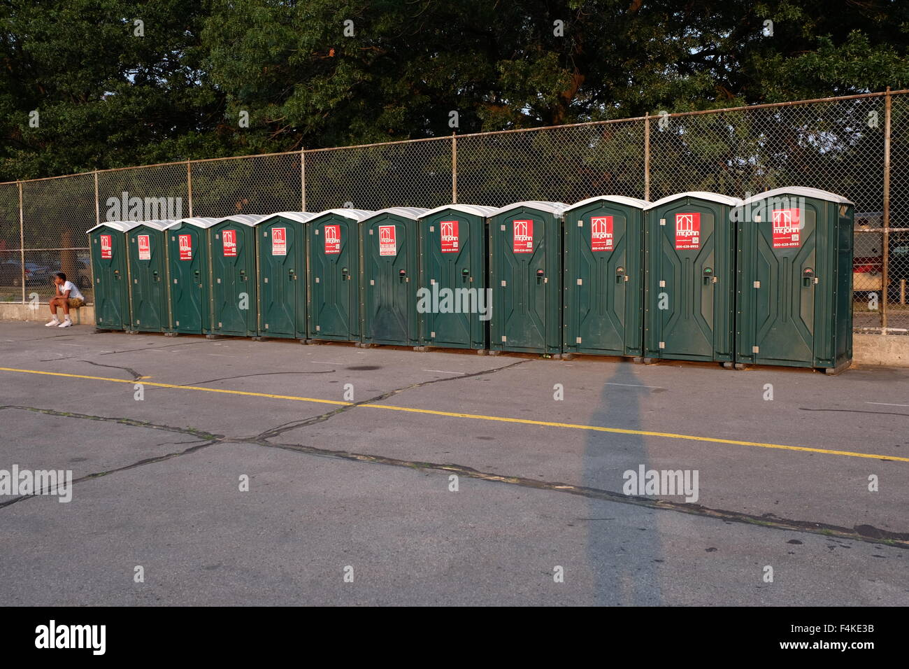 port-o-potties at an event in greenpoint, brooklyn photo by jen lombardo - Stock Image