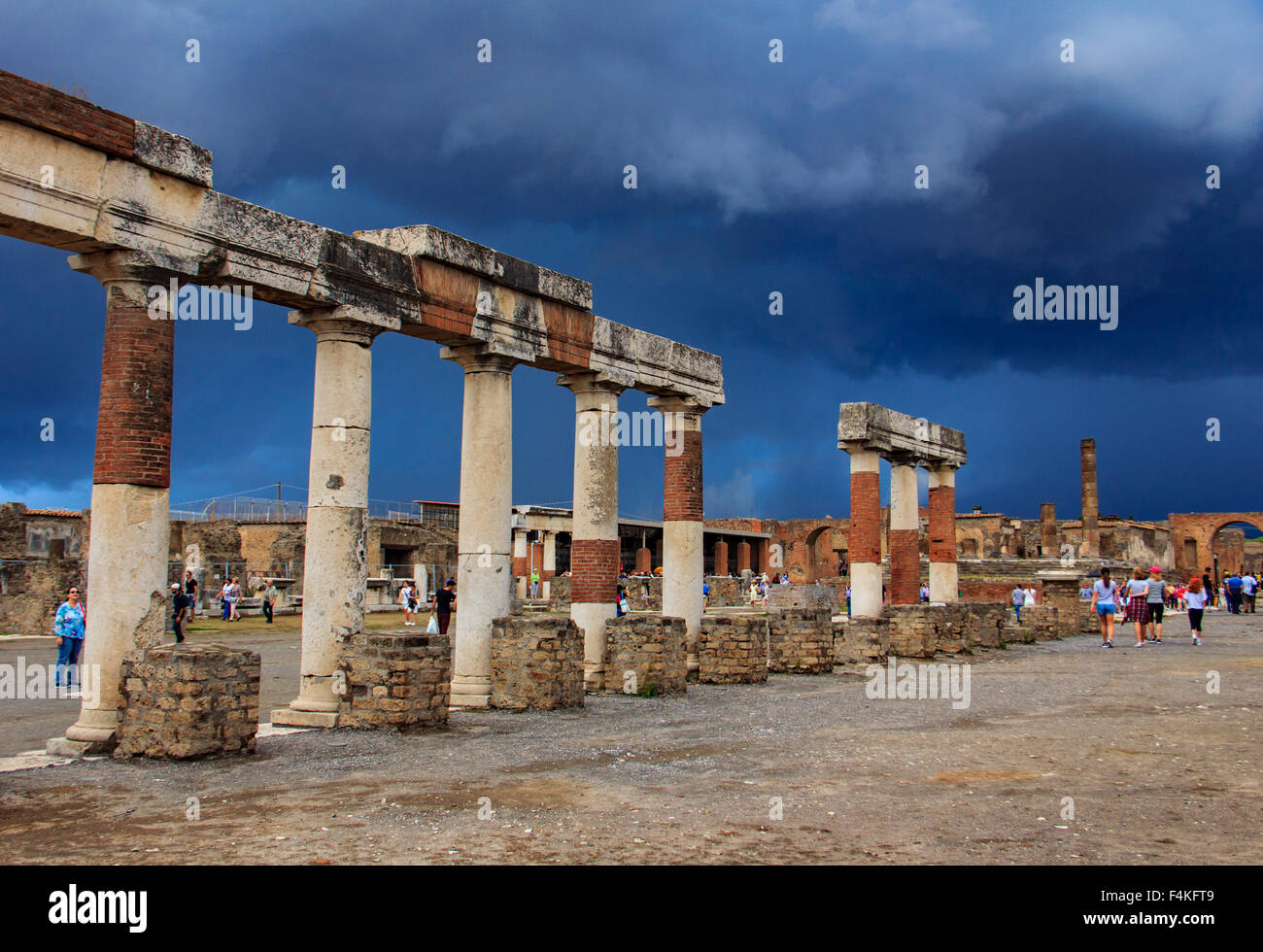 Ruins of ancient Pompeii under stormy sky. - Stock Image