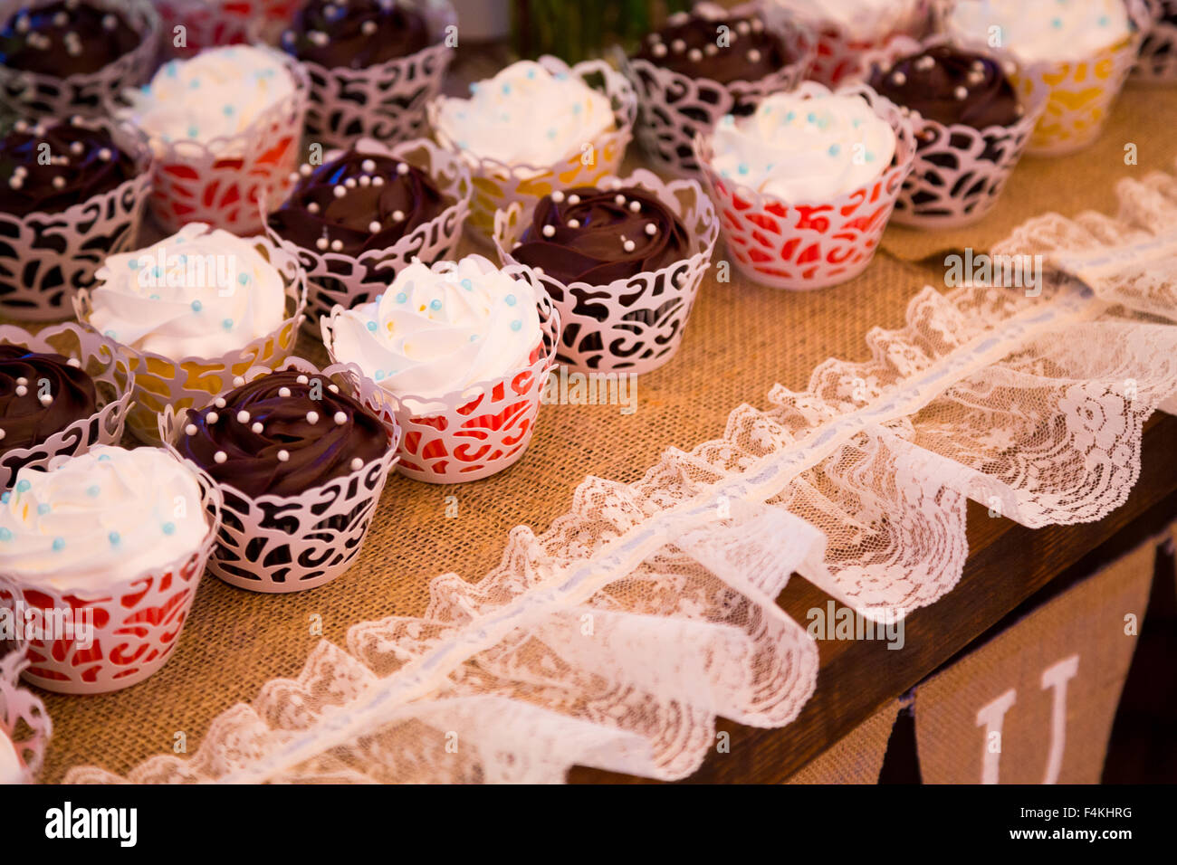 Cupcakes In Vanilla And Chocolate At A Wedding Reception Dessert