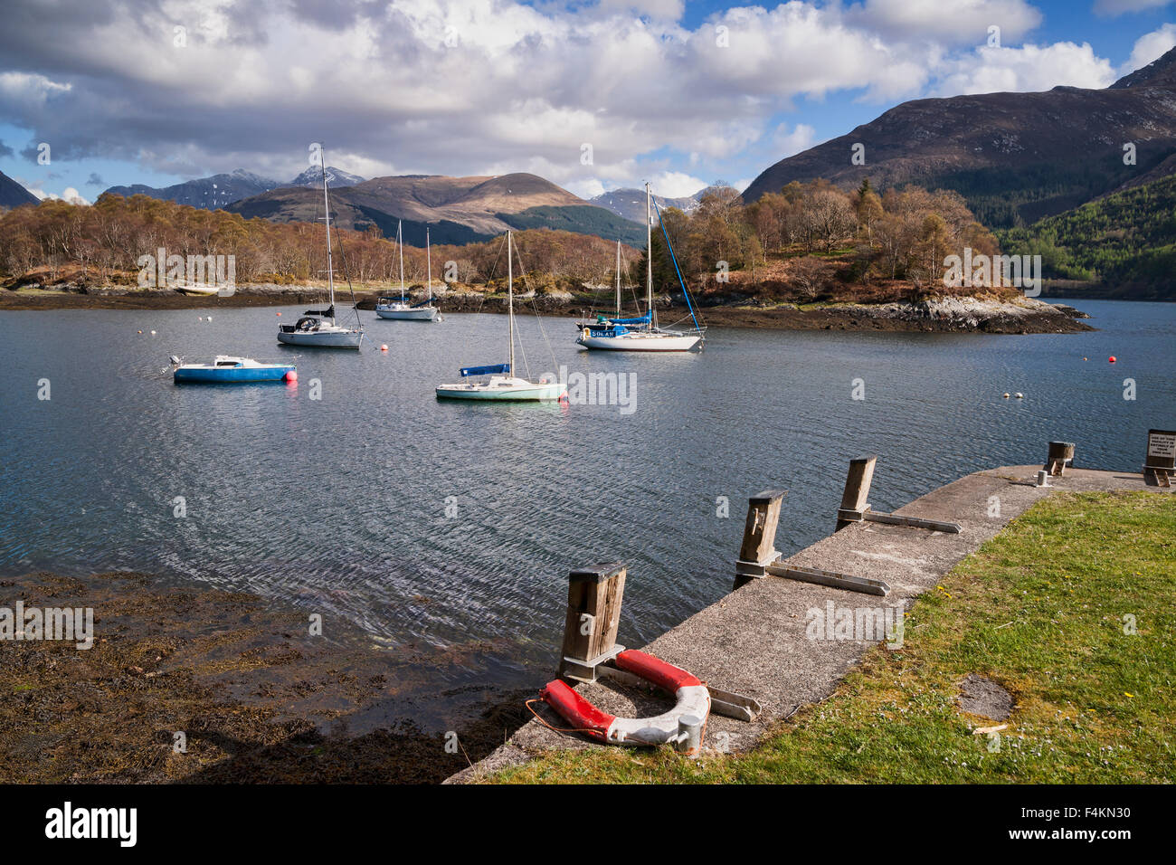 Loch Leven at North Ballachulish, Glencoe mountains, Highland,  Scotland, UK - Stock Image