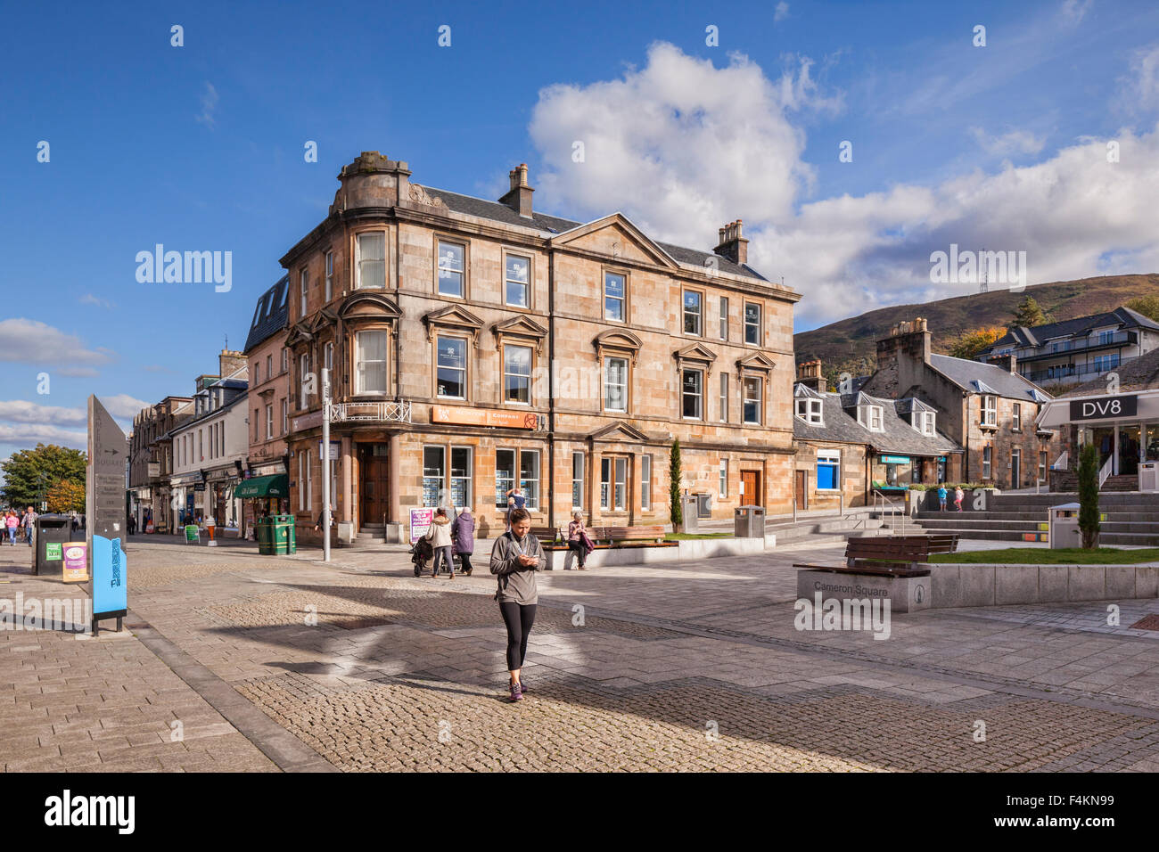 Cameron Square, in the centre of Fort William, Highland Region of Scotland, on a sunny autumn Sunday afternoon. Stock Photo