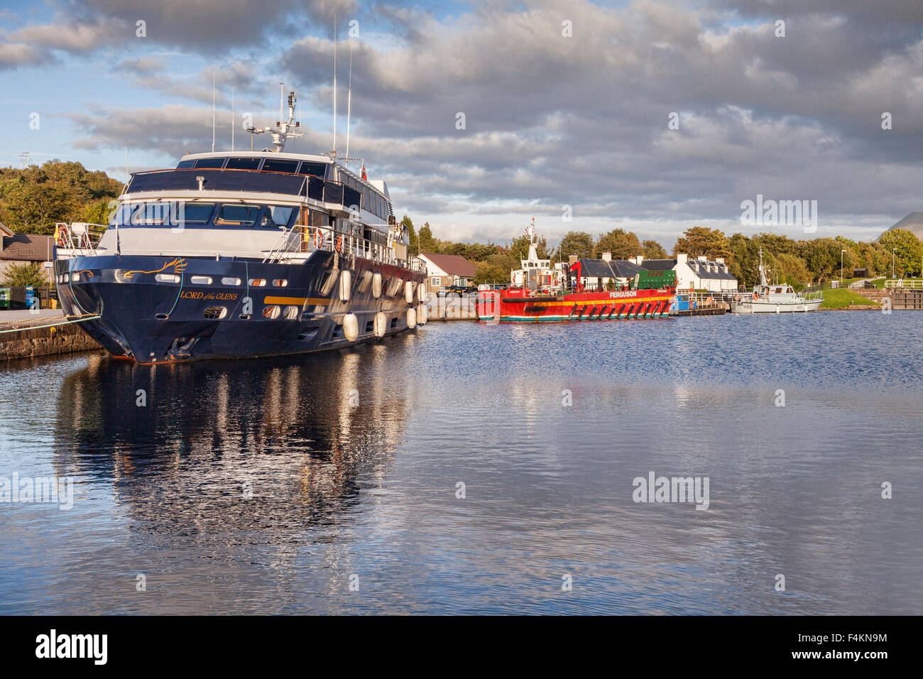 Cruise ship Lord of the Glens in the basin of the Caledonian Canl, near Fort William, Highland, Scotland, UK Stock Photo