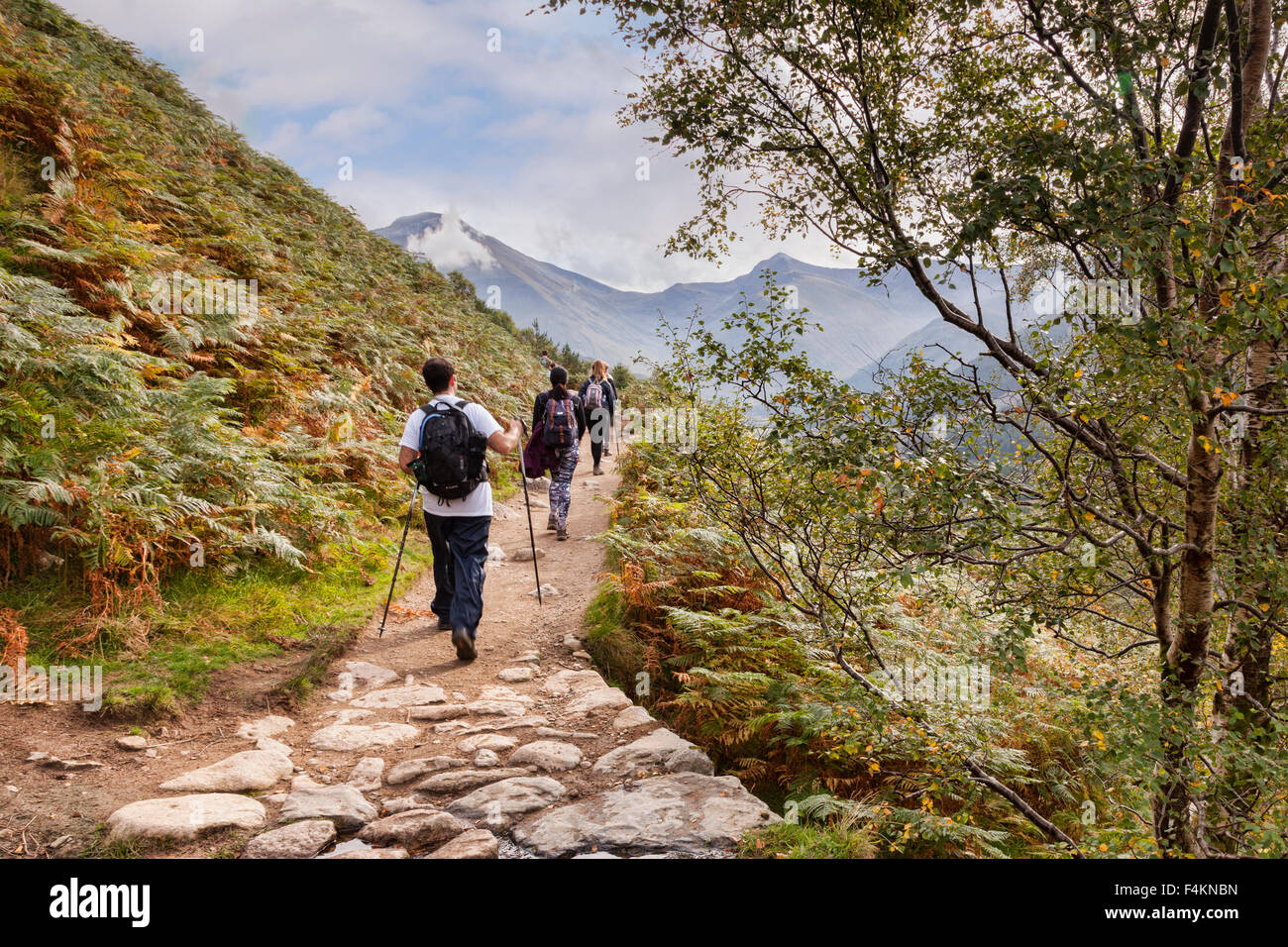 Hikers on the Ben Nevis path with walking poles, Highland, Scotland, UK - Stock Image
