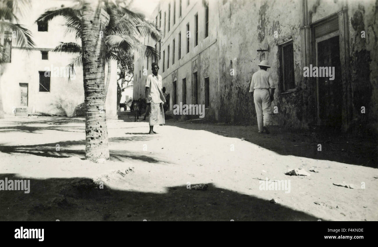 Square with young African and colonialist, Libya - Stock Image