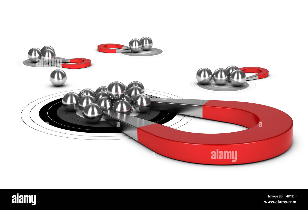 Horseshoe magnet attracting metal balls in a target, 3d conceptual image for illustraton of lead generation - Stock Image