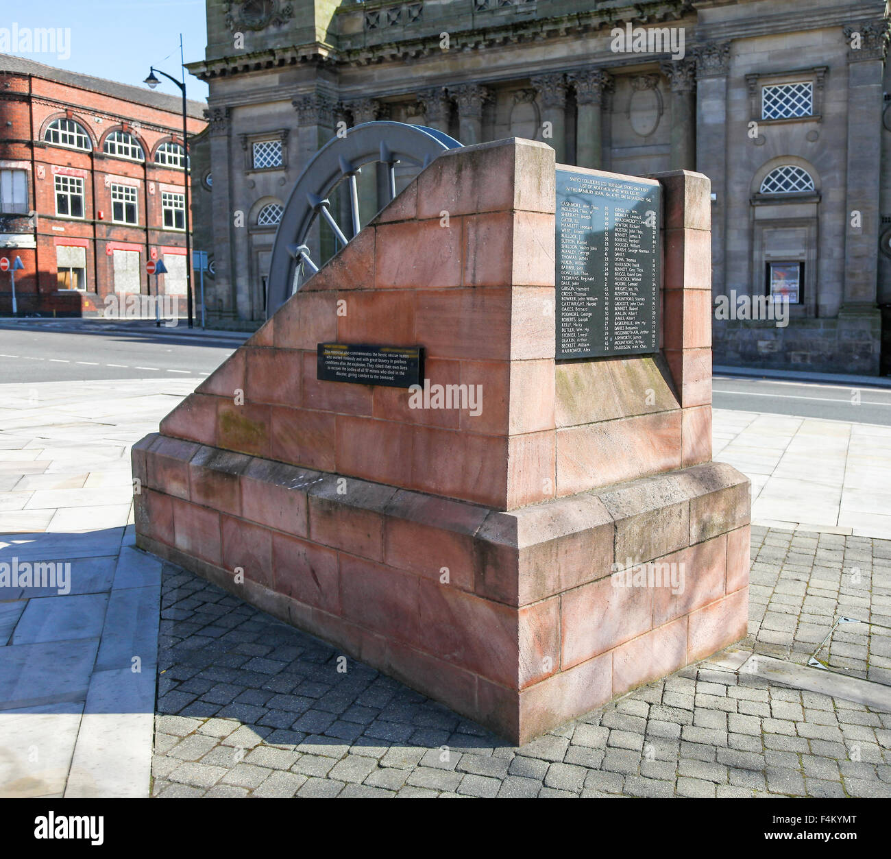 A memorial to miners killed in the Sneyd Collieries Pit No. 4 Banbury seam disaster of 1st. January 1942 Burslem Stock Photo