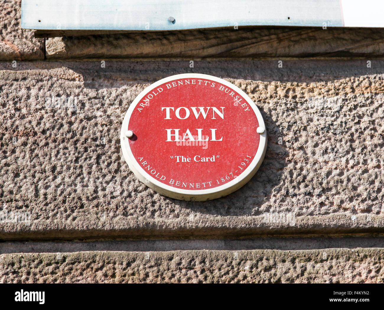 A plaque on the former Burslem Town Hall saying 'Town Hall' as mentioned in Arnold Bennett's Bursley - Stock Image