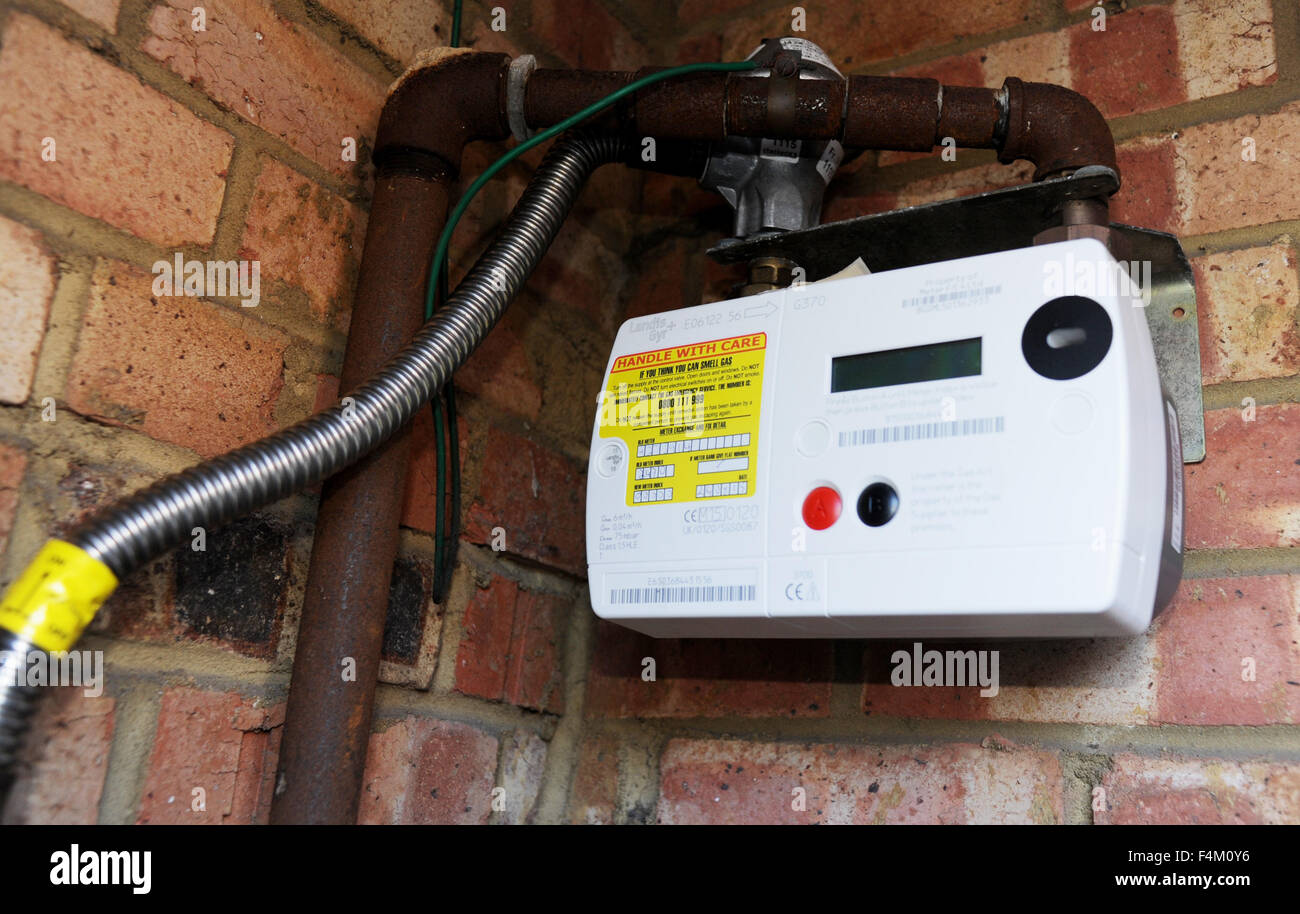 British Gas smart meter to measure household use sending readings back automatically - Stock Image