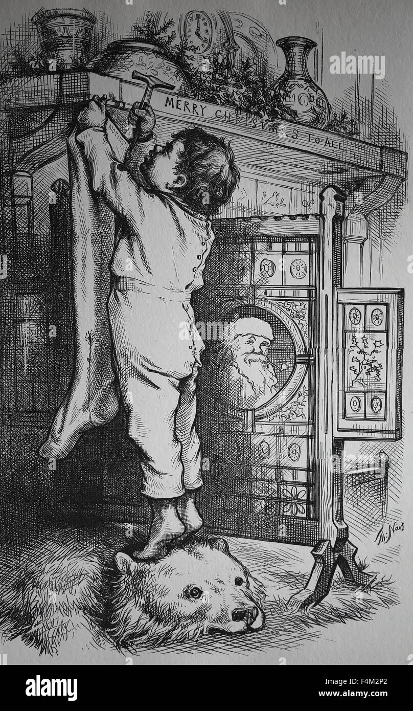 Twas the Night before Christmas. Small boy tacking a stocking to the mantle of the fireplace, using the bear rung - Stock Image