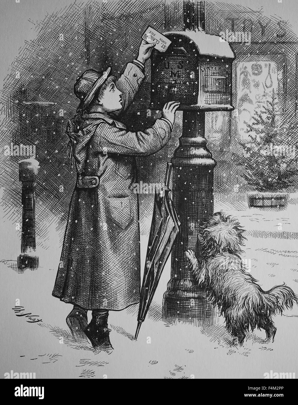 United States. 19th century. Christmas Post. Engraving by Thomas Nast. Published in Harper's Weekly. - Stock Image