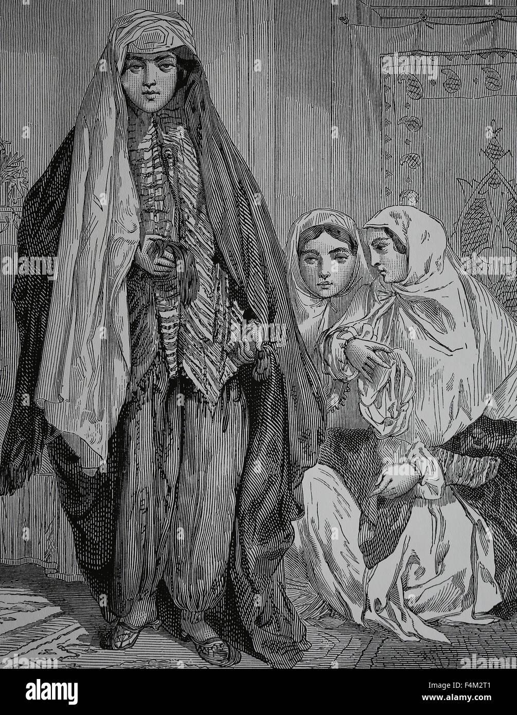 Asia. Persia. Persian ladies, 1880. Engraving, 19th century. - Stock Image
