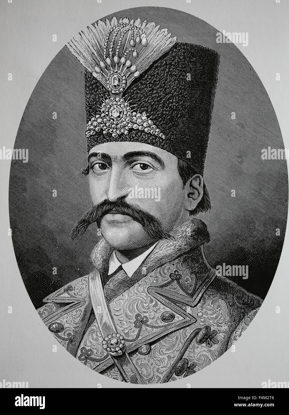 Naser al-Din Shah Qajar (1831-1896). King of Persia from 1848-1896. He was assassinated. Qajar Dynasty. Engraving. - Stock Image