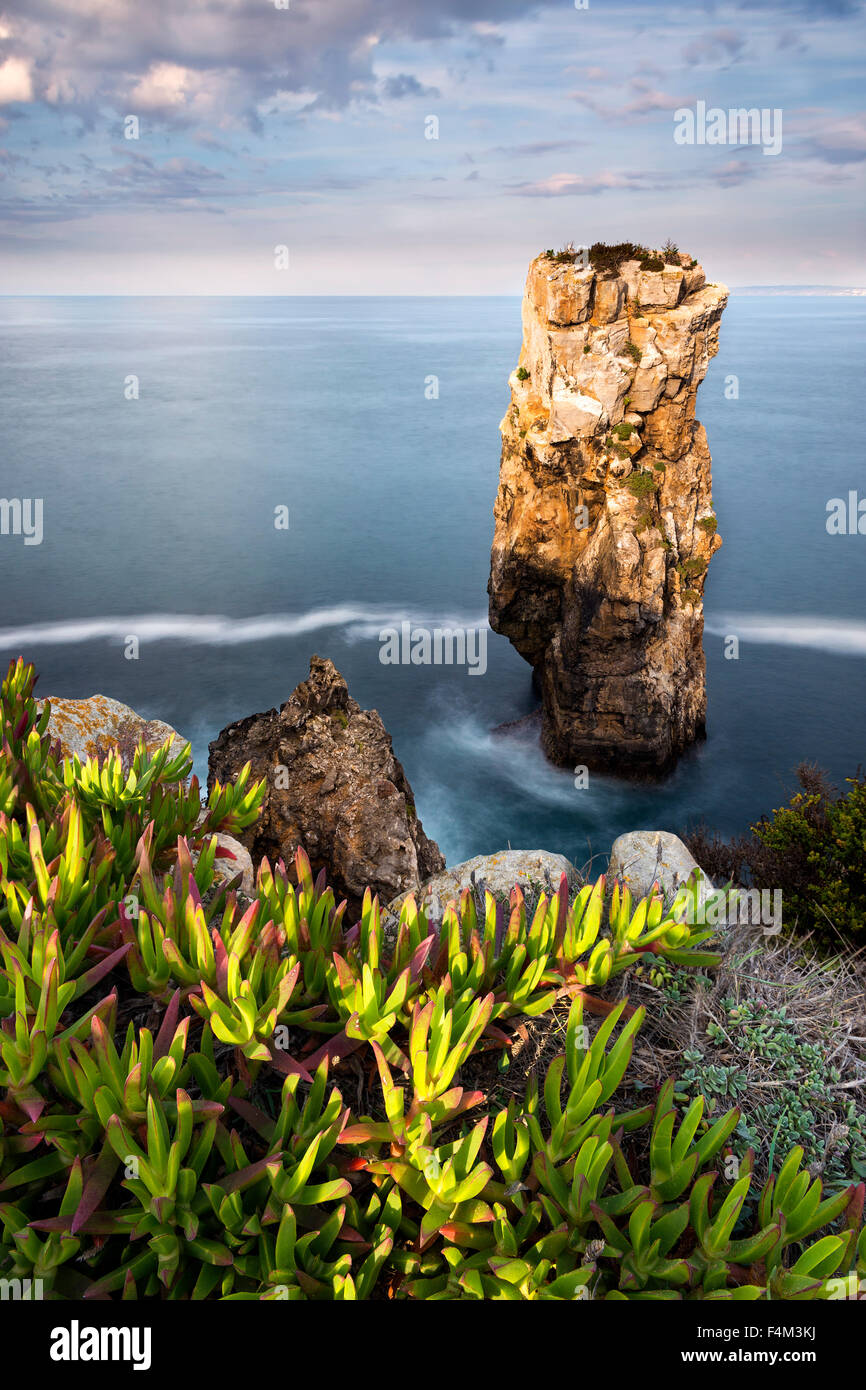 View of the sea and rocks in Peniche, Portugal, 2015 - Stock Image